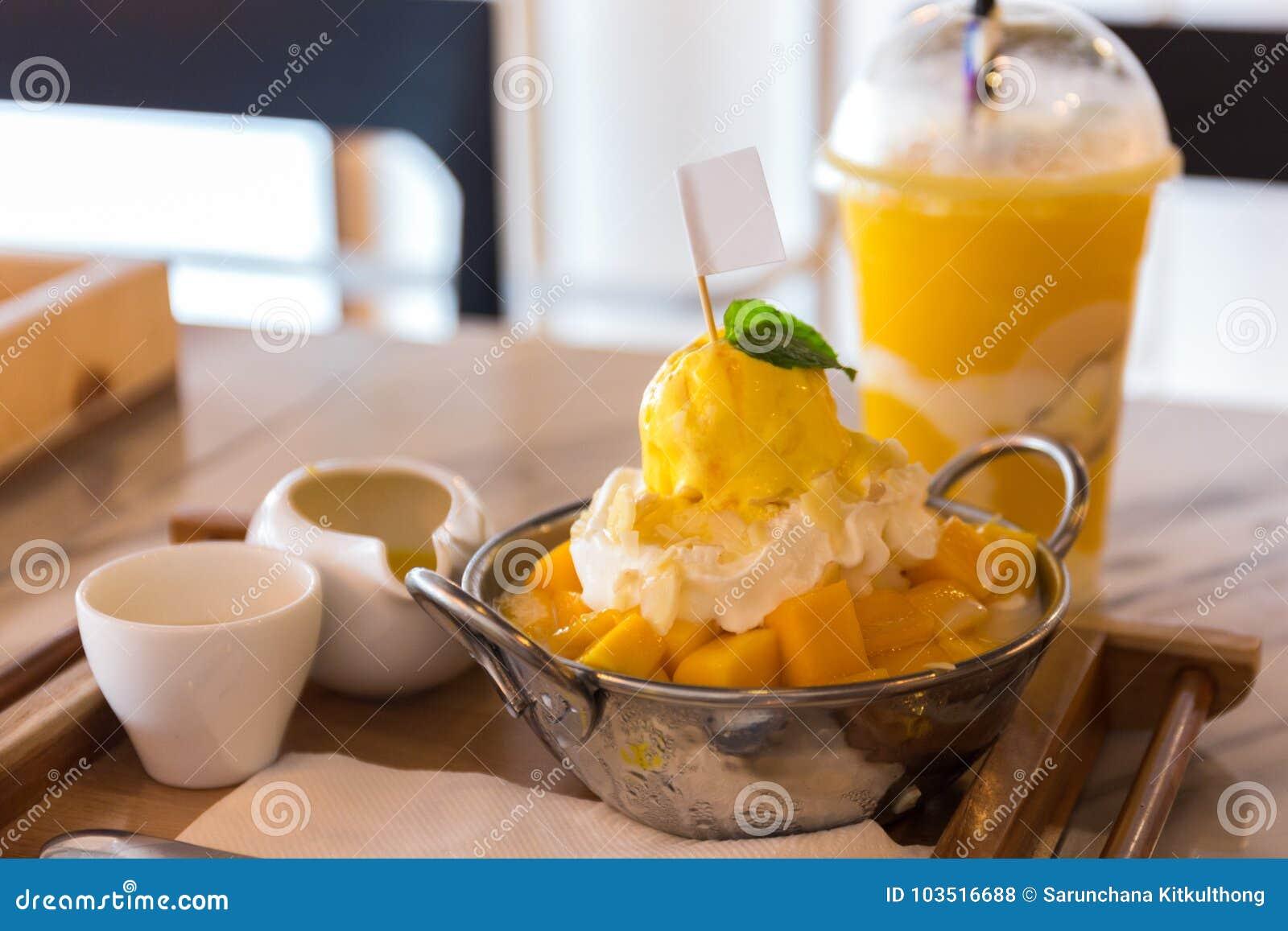 Mango Bingsu Korean Dessert Stock Photo Image Of Icecream Korea
