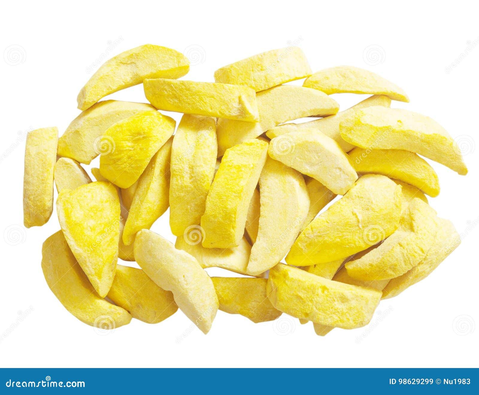Mango freeze dry on white background