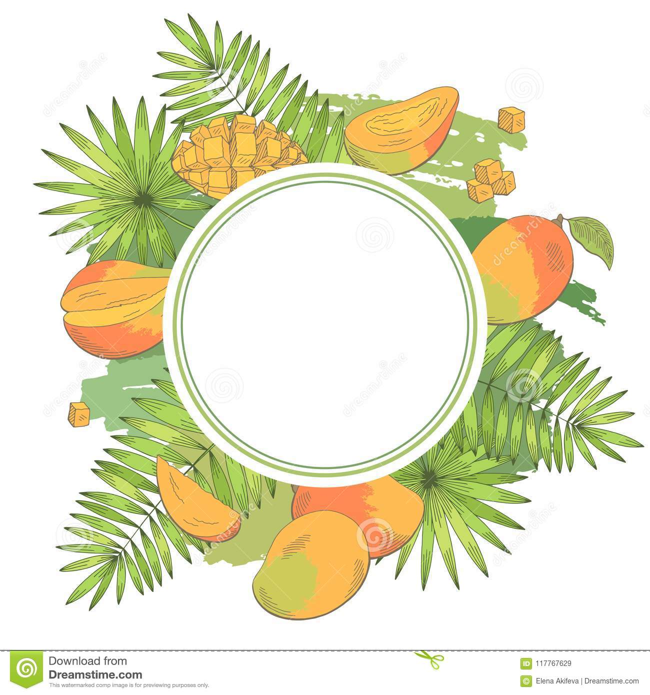 Mango Fruit Graphic Color Isolated Pattern Background Sketch ...