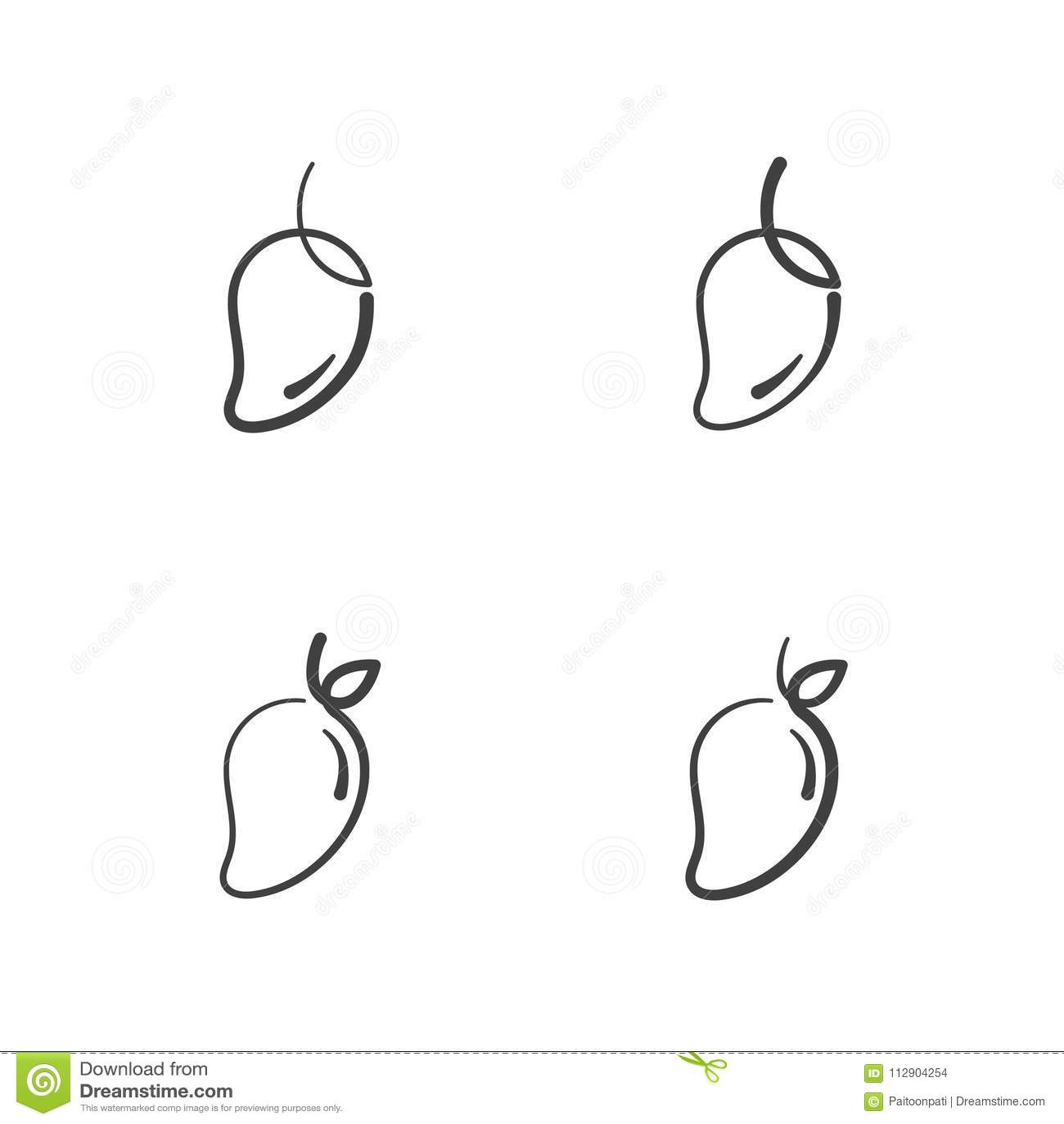Mango Fruit Icons Outline Stroke Set Design Illustration