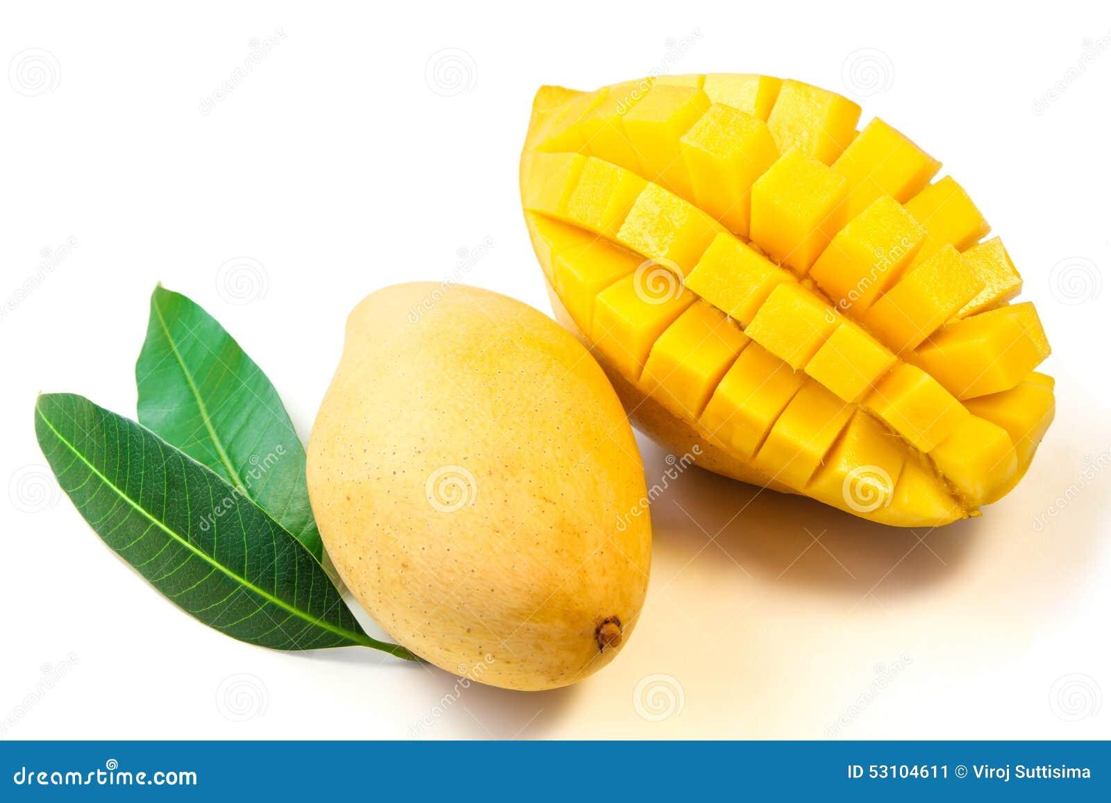 Mango Fruit With Leaves. Stock Photo - Image: 53104611