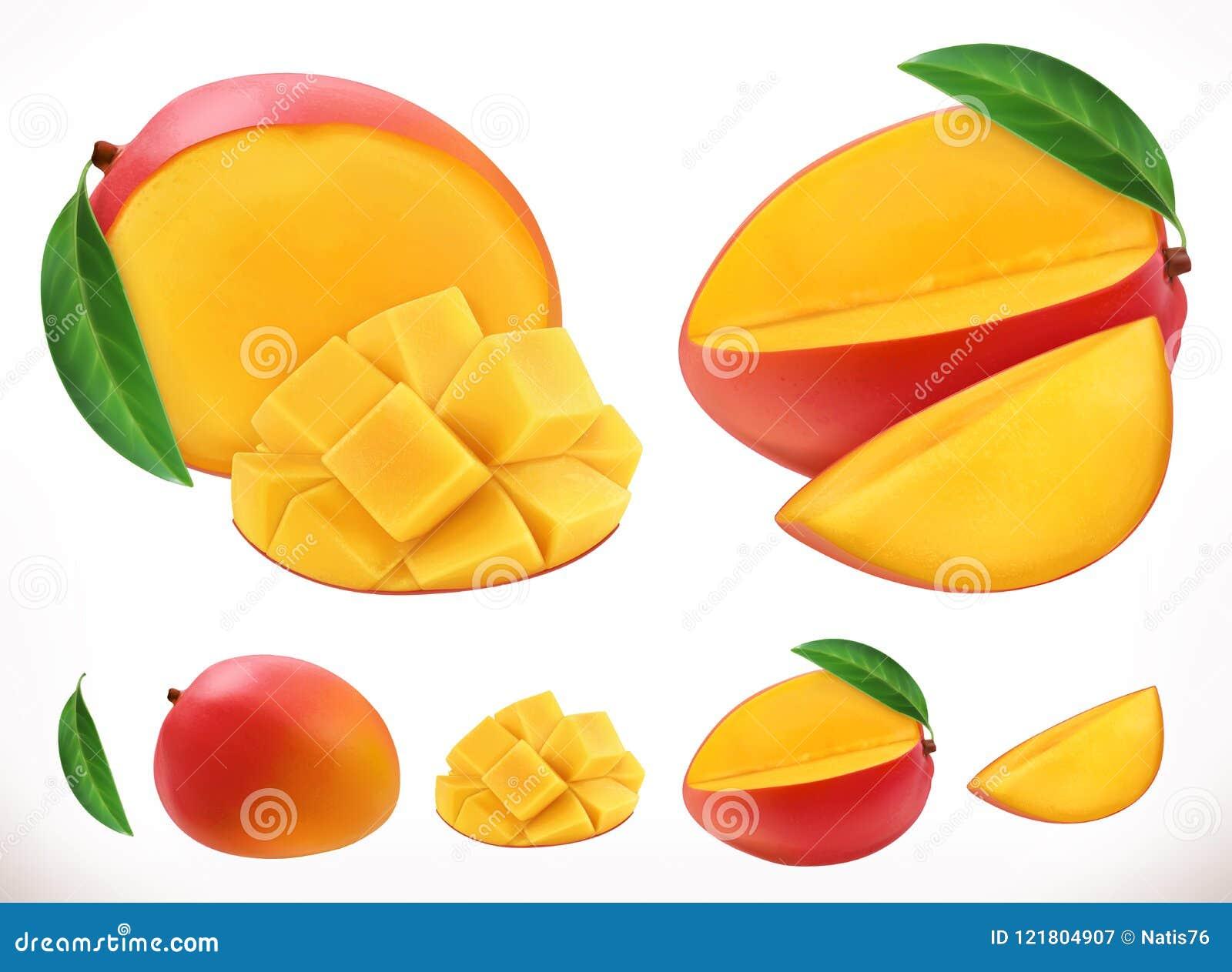 Mango Icona di vettore della frutta fresca 3d