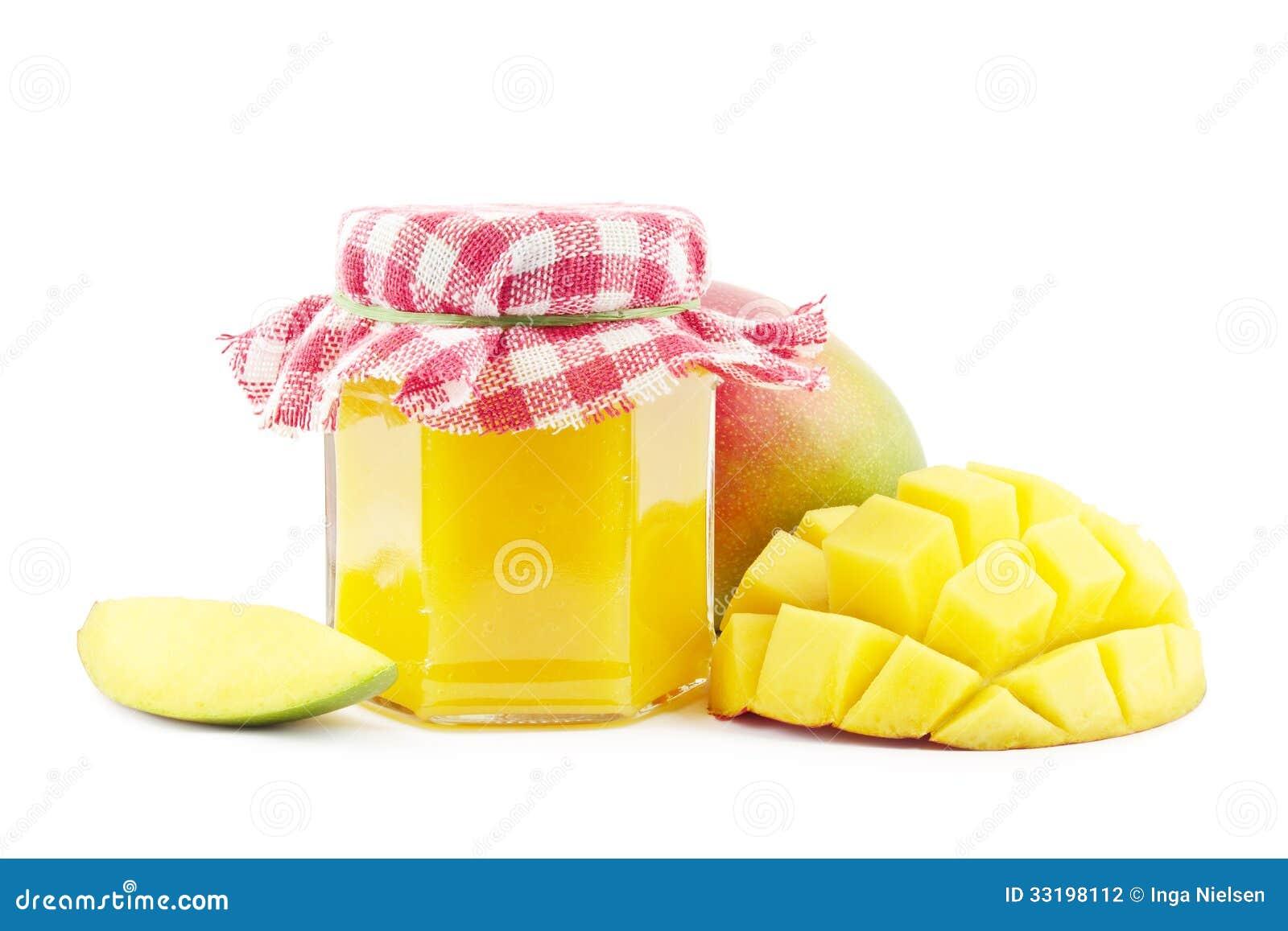 Mango jam with fresh mangoes on white.