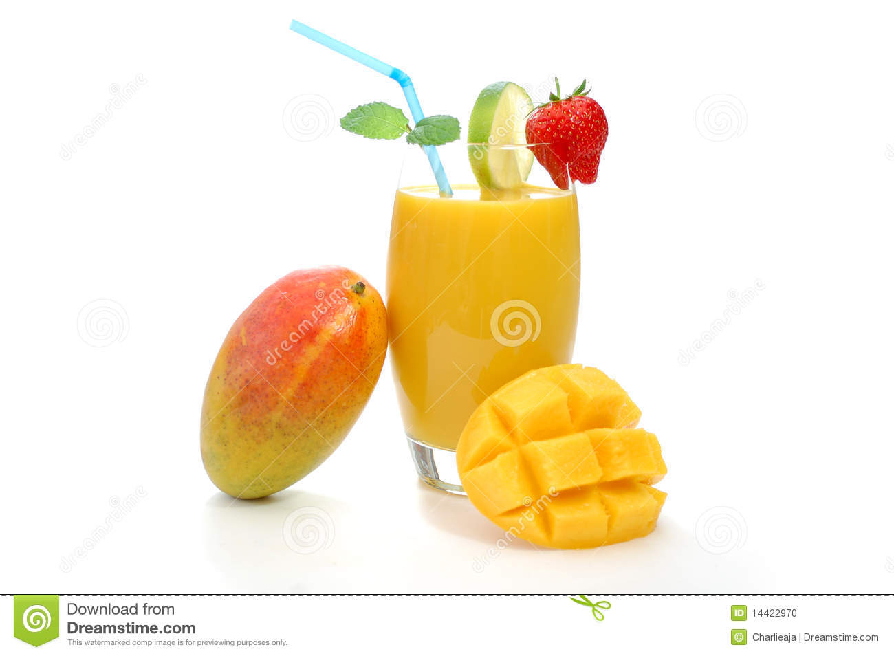 Whole mango resting on a glass with juice.