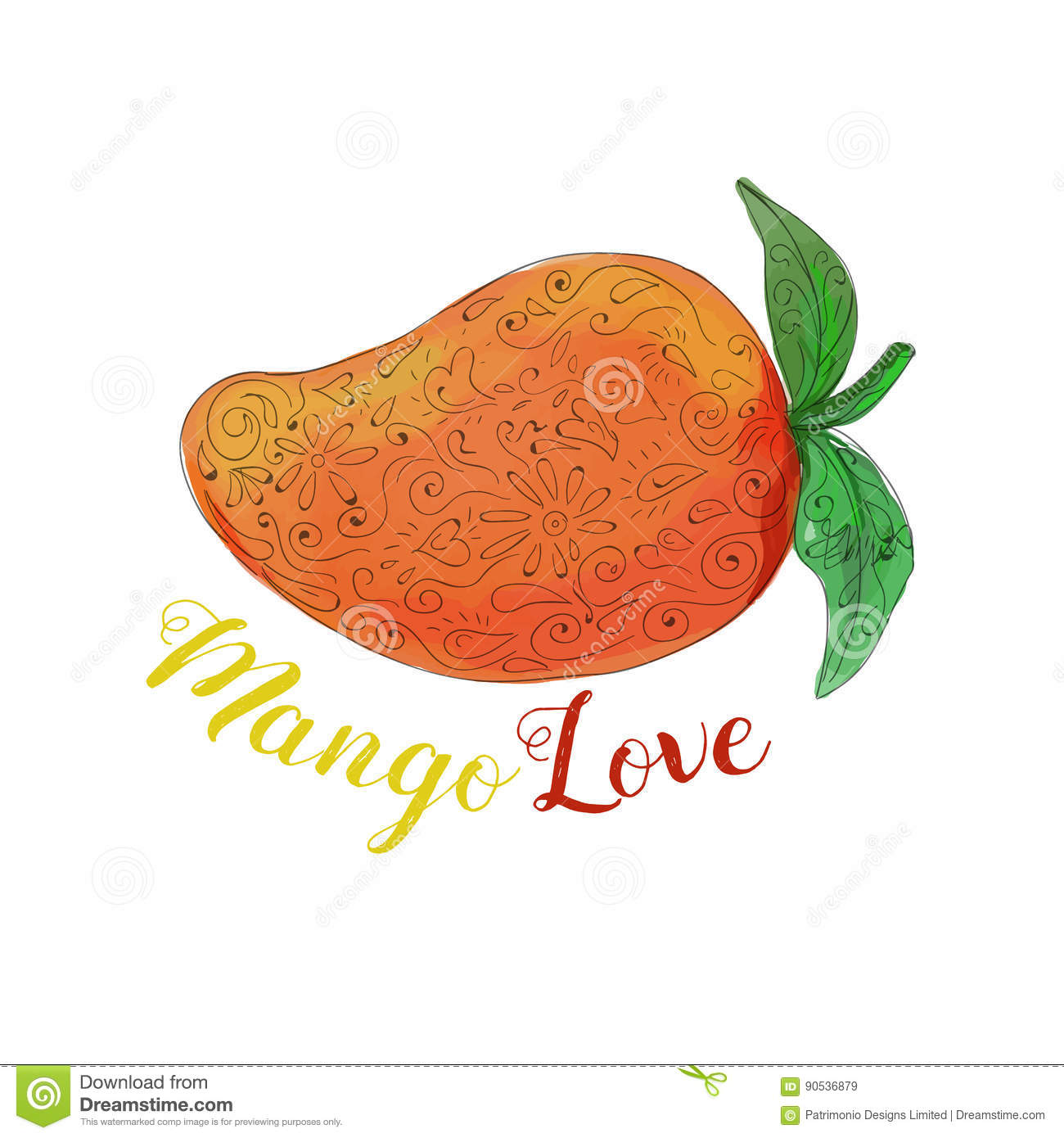 Mango Love Fruit Watercolor Mandala Royalty Free Vector Download