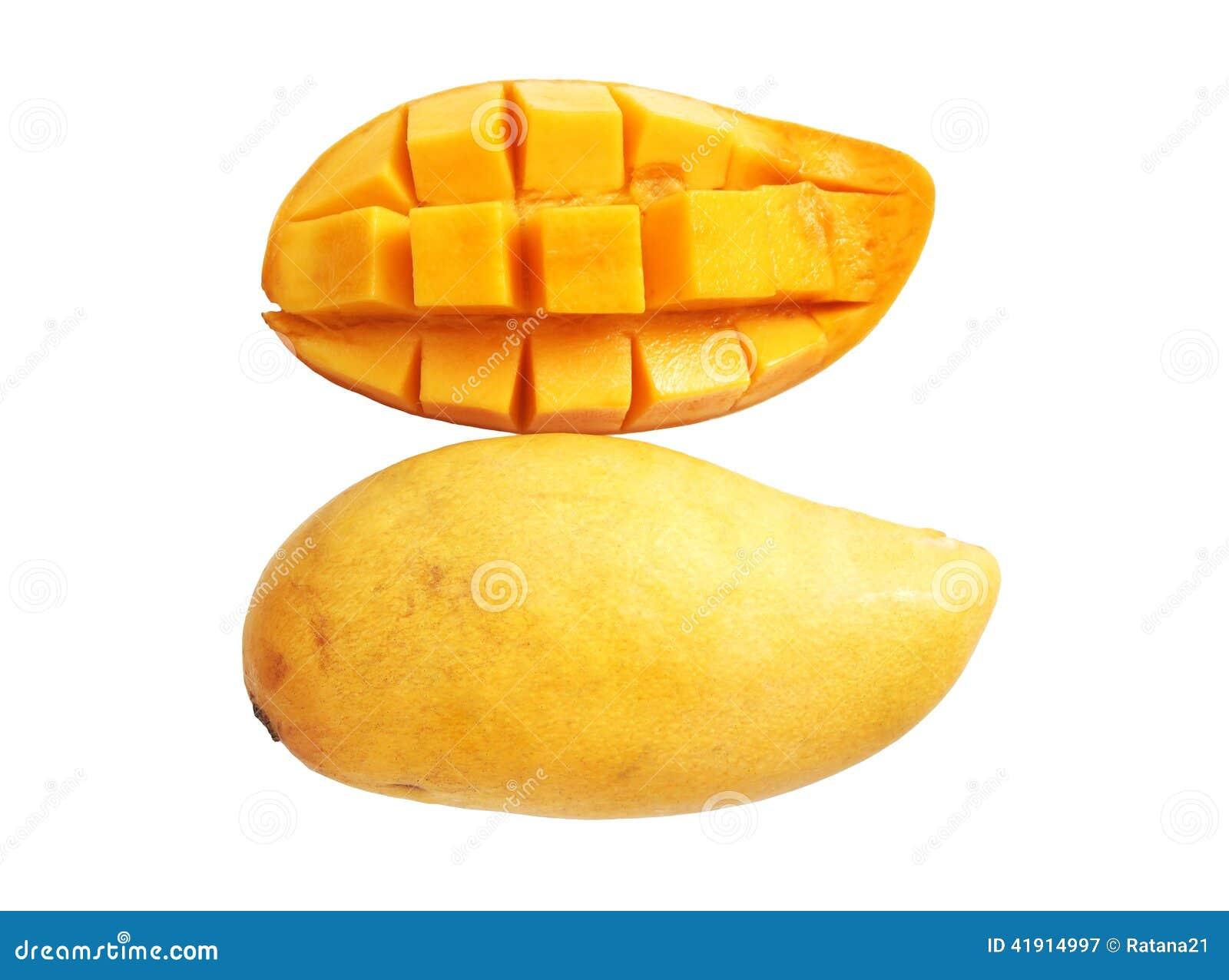 Mango maduro dulce en el fondo blanco