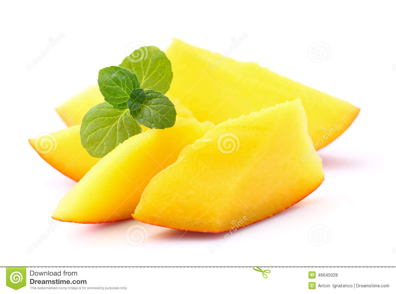 Mango With Mint Stock Photo - Image: 46645028
