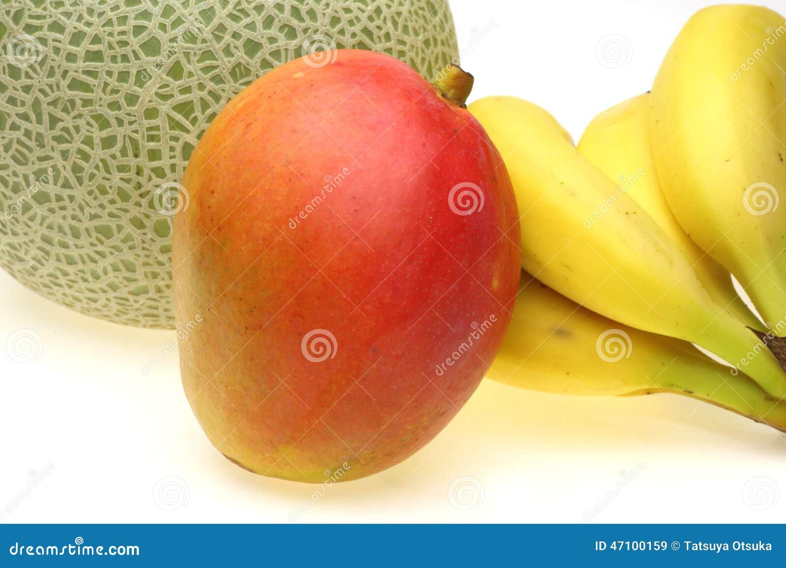 Mango mit Banane und Melone