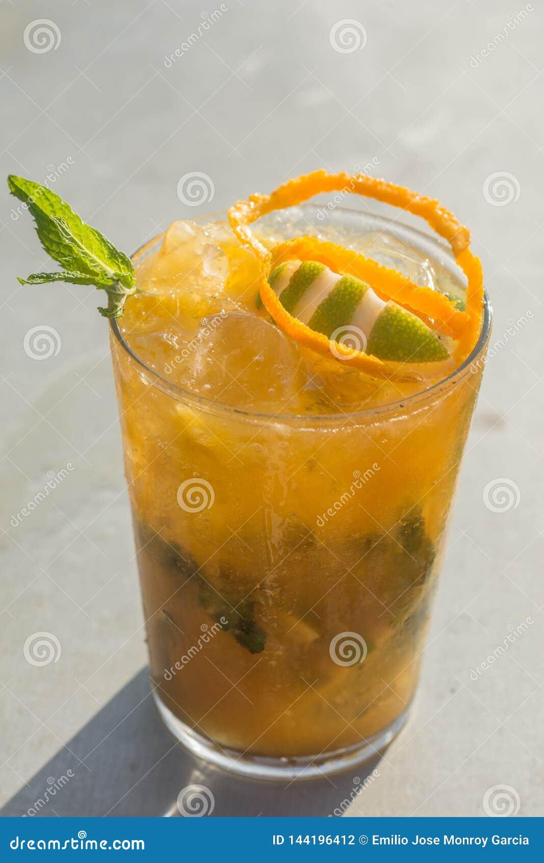 Mango mojito in a sunny day