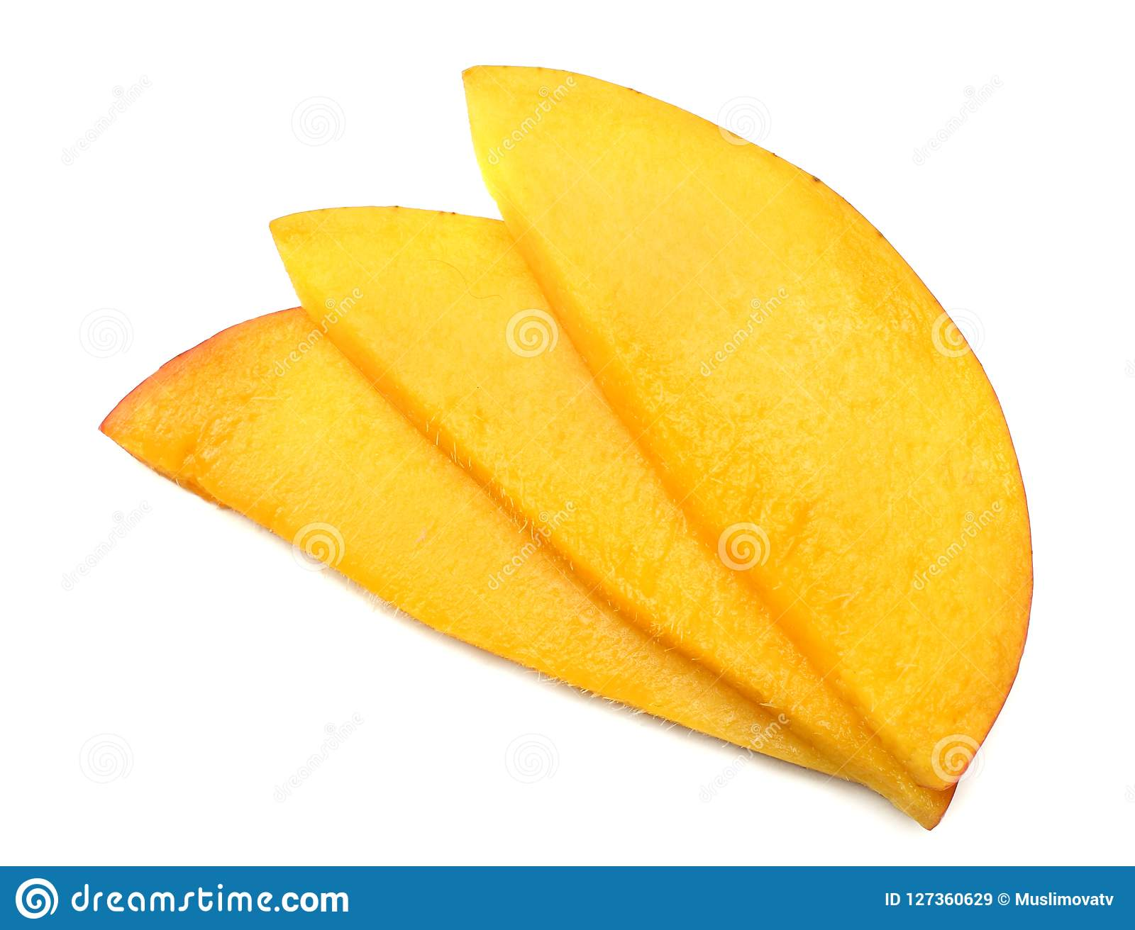 mango slice isolated on white background. healthy food. top view