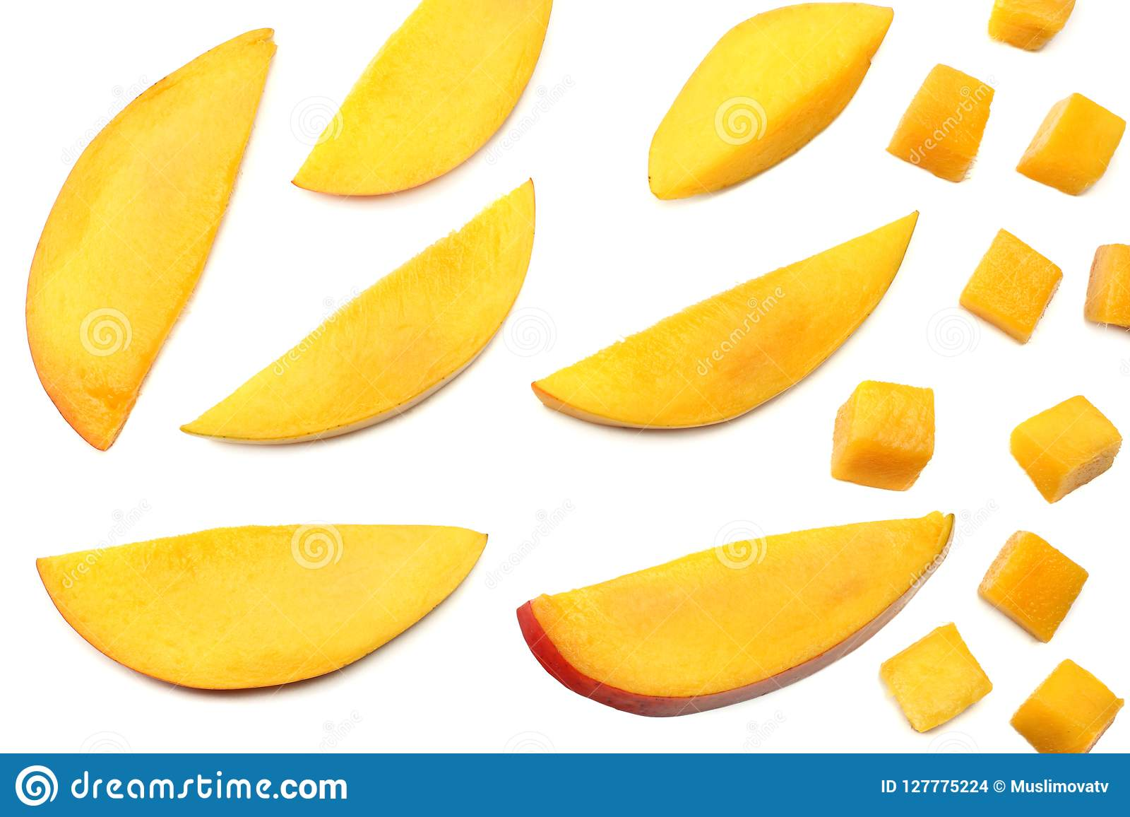 Mango Slice Isolated On White Background  Healthy Food  Top View