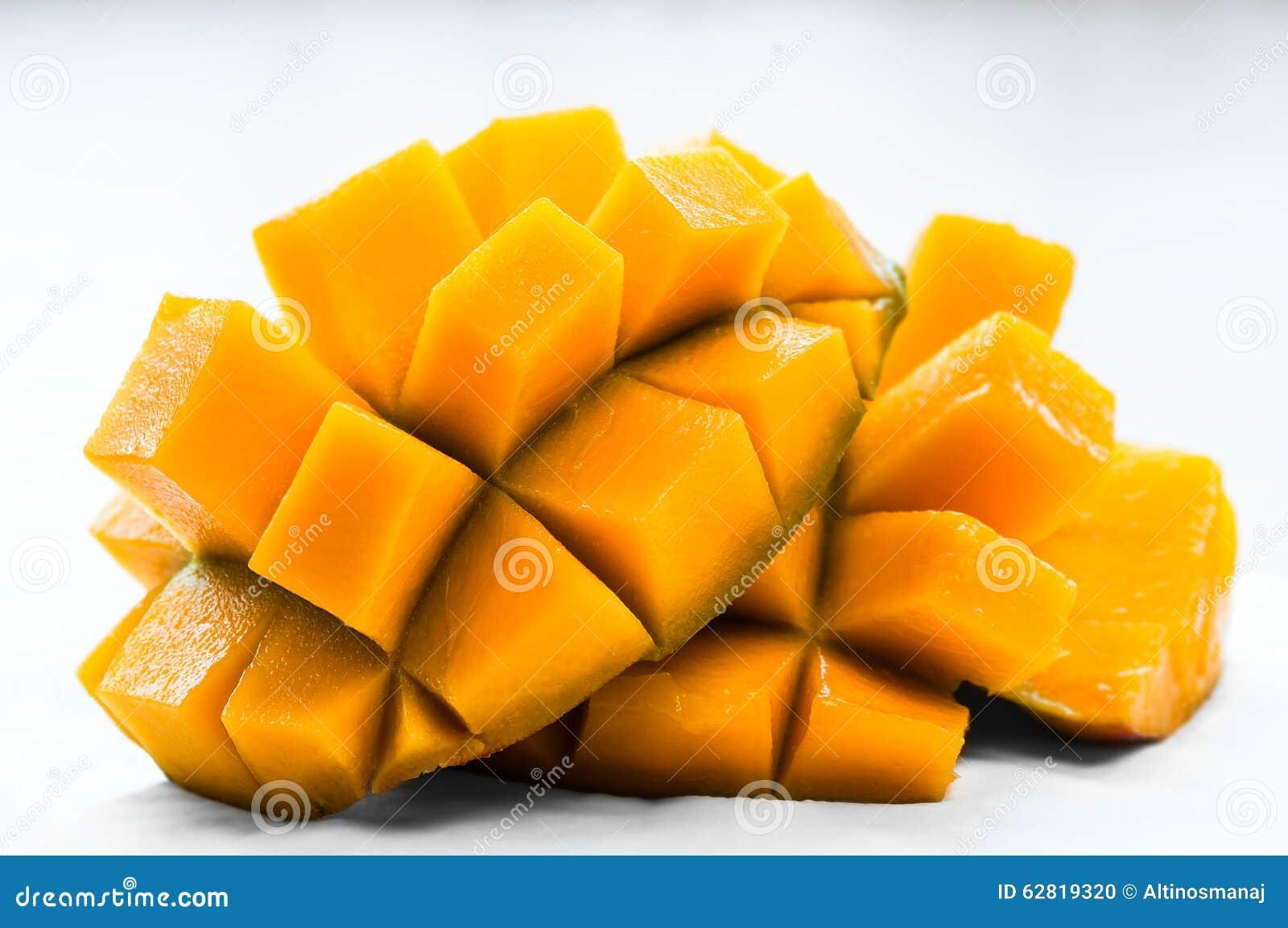 Mango Sliced On The Skin Ready To Eatanic Healthy Snack Juicy Fresh