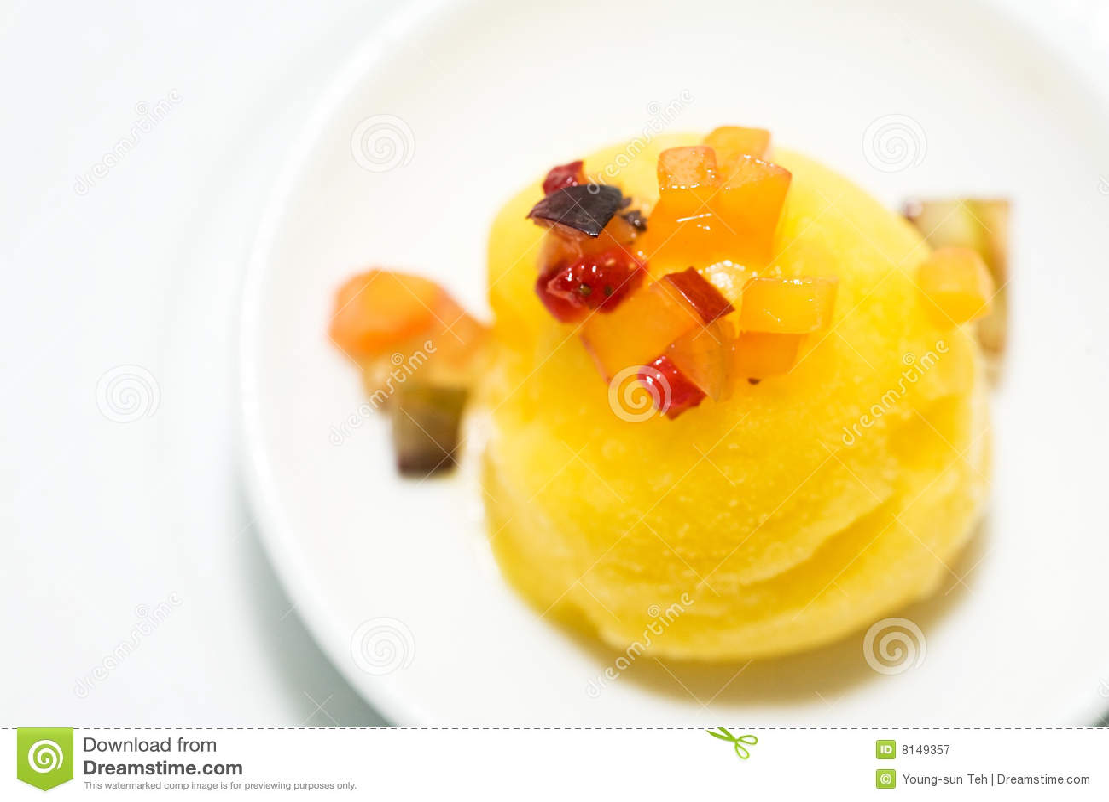 Mango Sorbet Ice Cream As Dessert Royalty Free Stock Photography ...