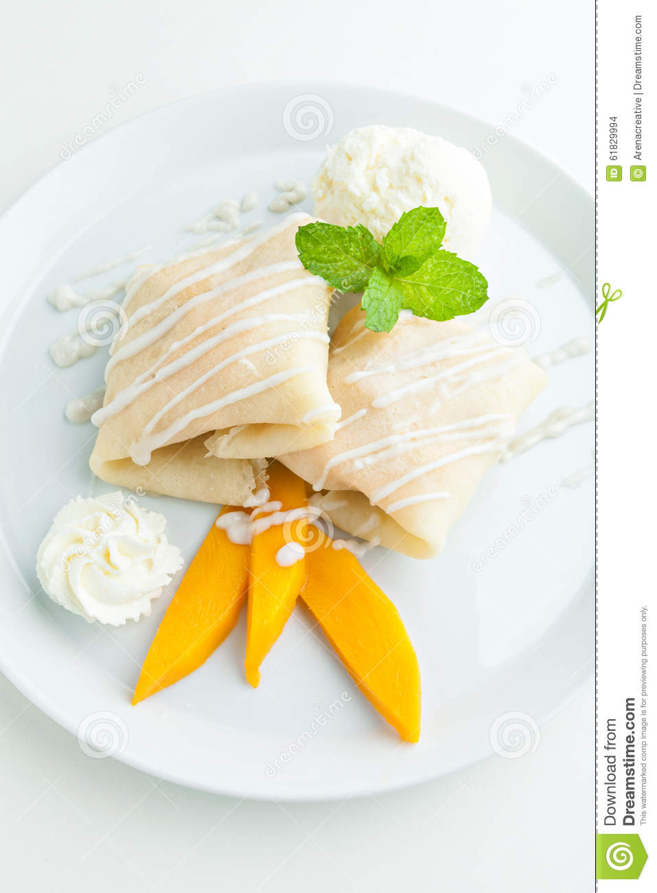 crepes filled with fresh mango sticky rice and a scoop of coconut ...