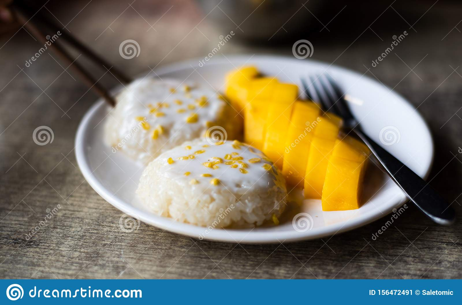 Mango Sticky Rice Thai Asian Dessert Stock Image - Image ...