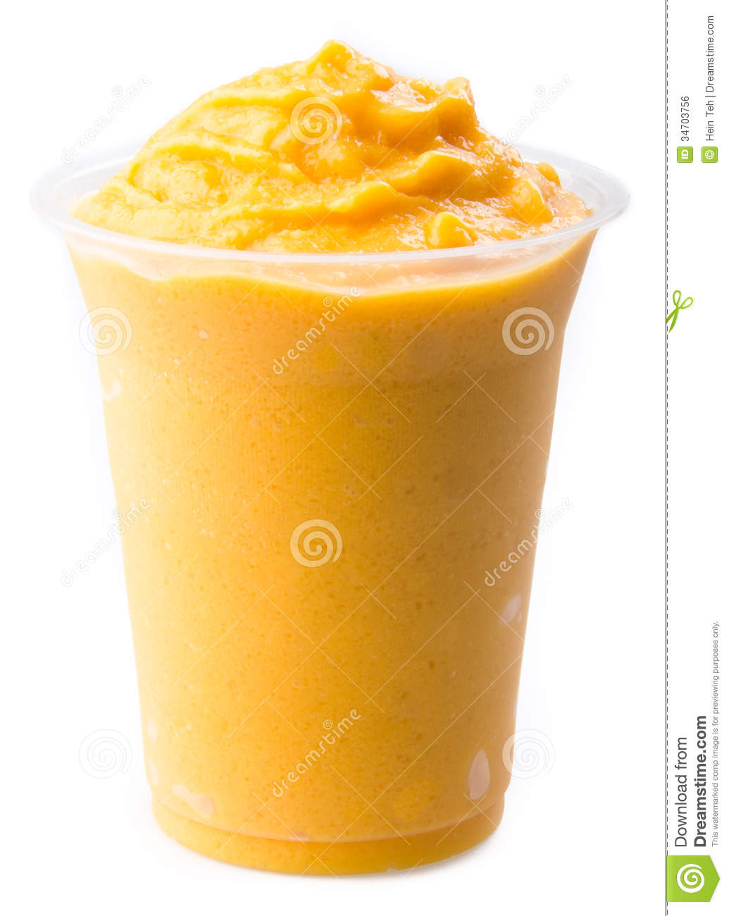 Mango Yogurt Milk Shake Isolated On White Stock Photo