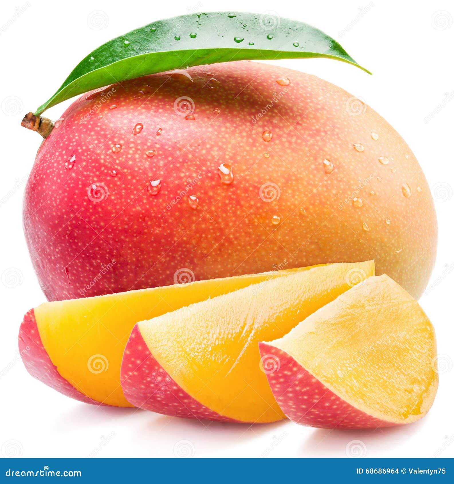 Mangofrukt- och mangoskivor kvast isolerad white