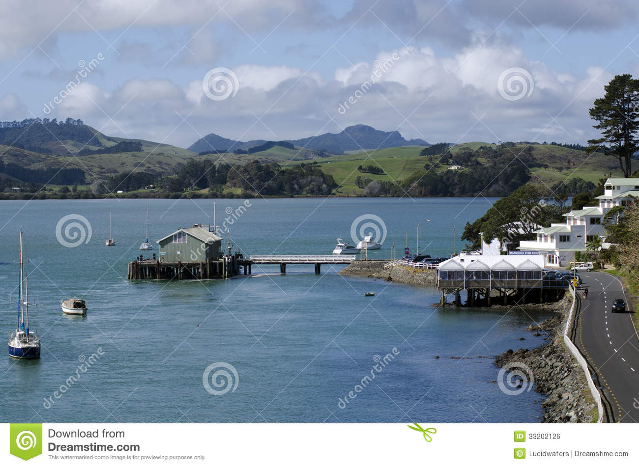 Mangonui New Zealand  city photos gallery : MANGONUI, NZ AUG 24:Aerial landscape view of Mangonui harbor on Aug ...