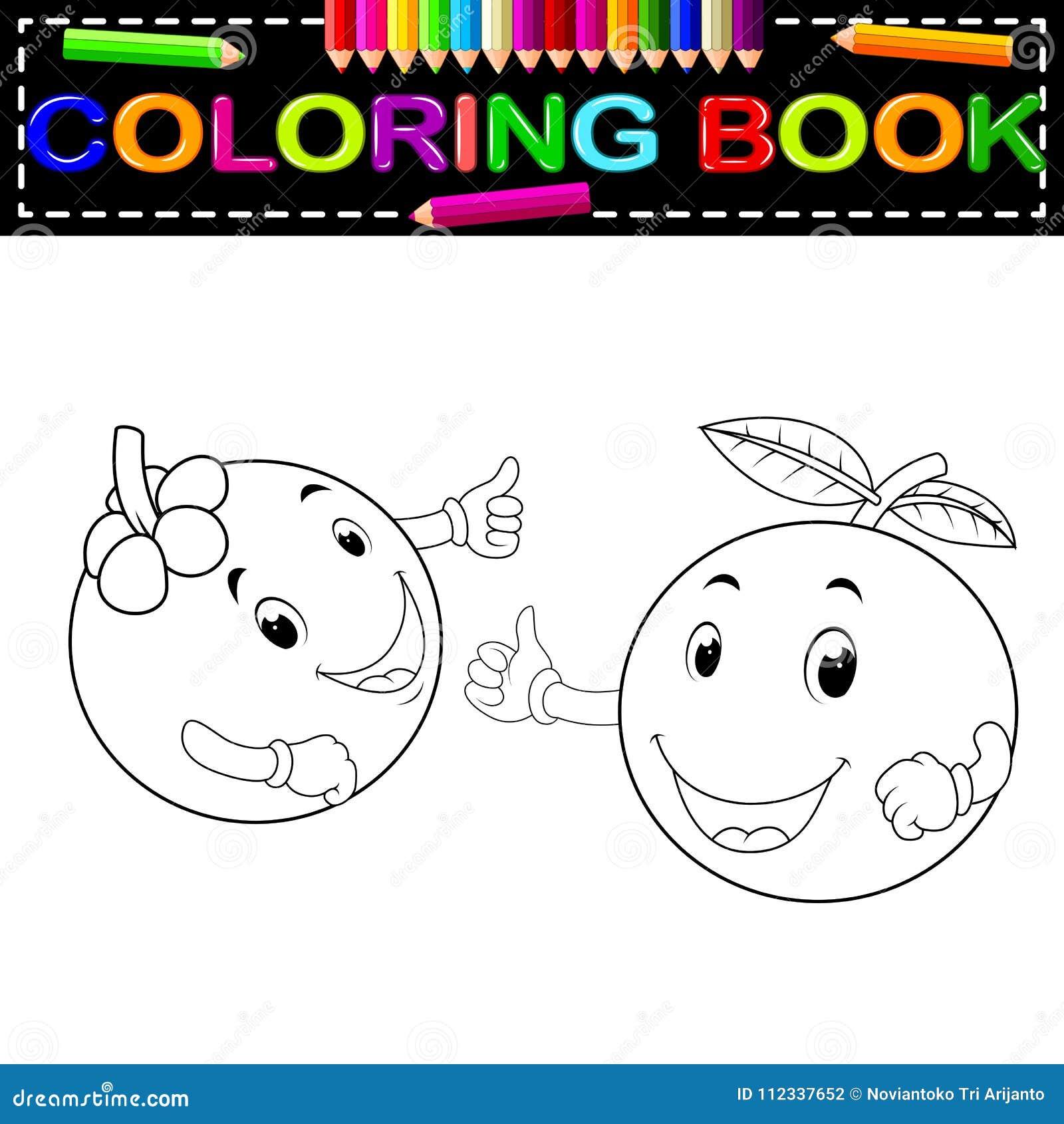 Mangostano Ed Arancia Con Il Libro Da Colorare Del Fronte