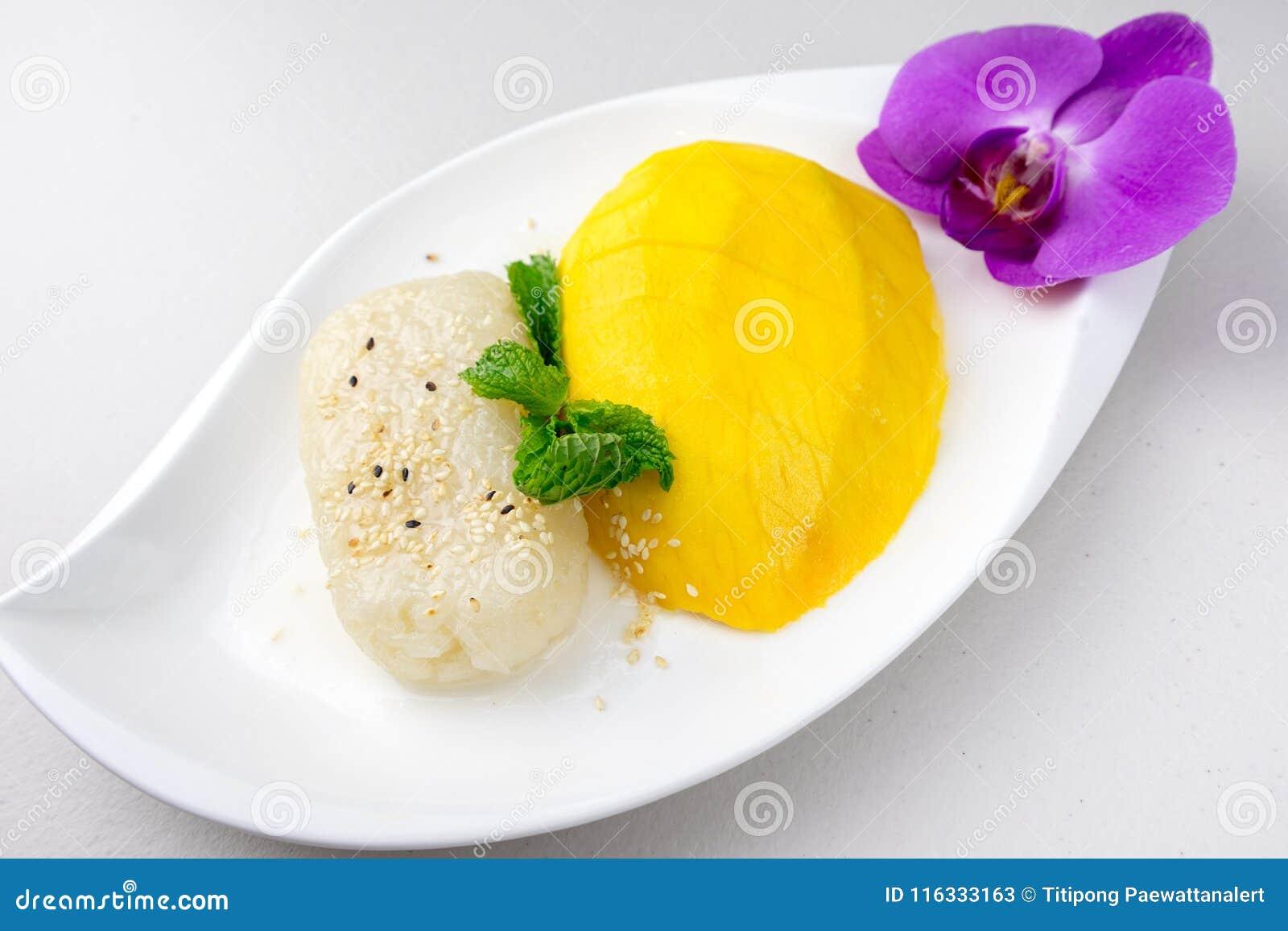 Mangowy i Kleisty Rice sławny deser w Tajlandia