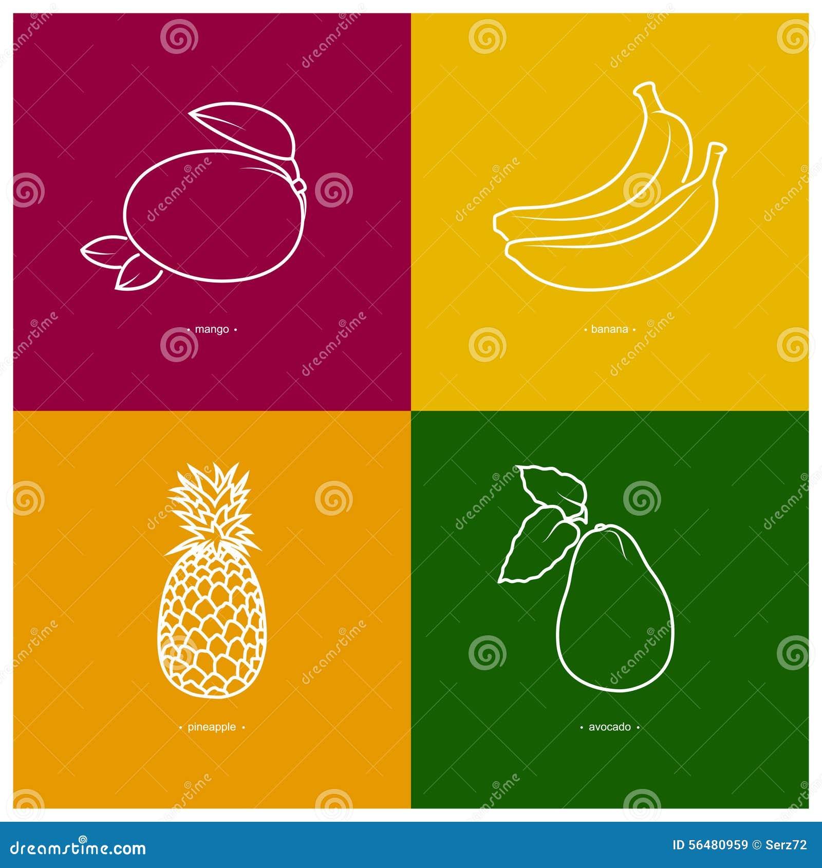 Mangue, banane, ananas, avocat