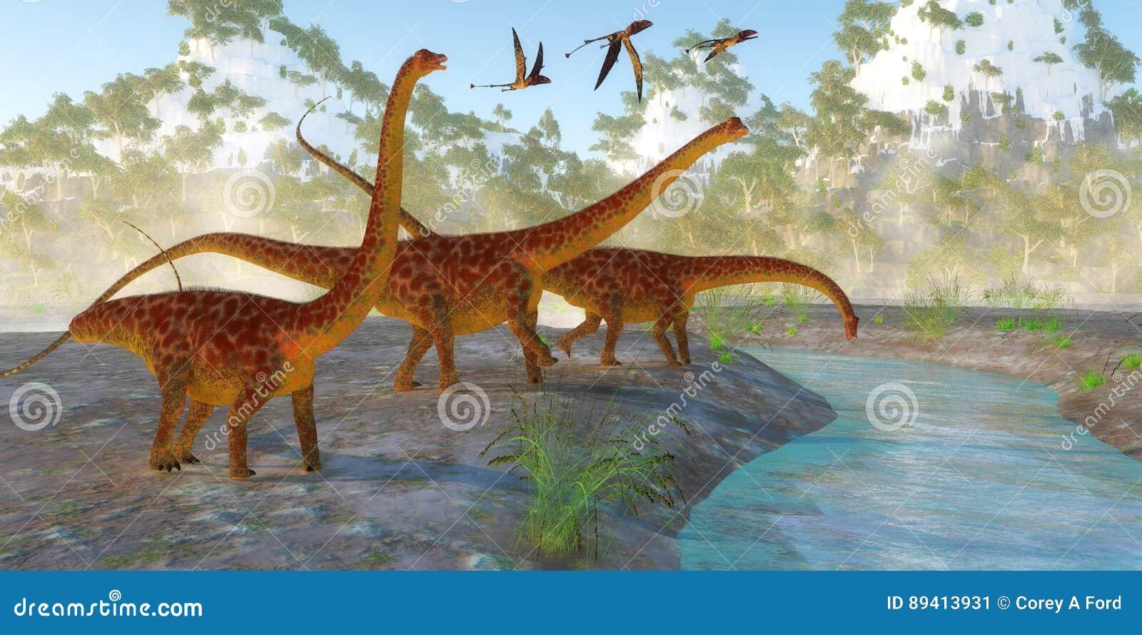 Manhã do dinossauro do Diplodocus