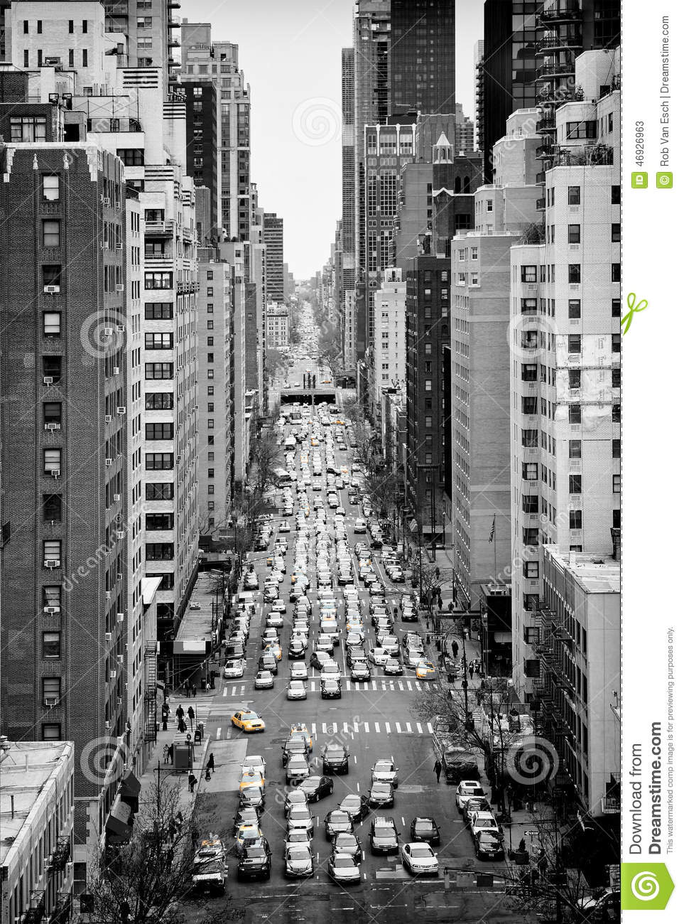 Manhattan from above stock image. Image of busy, street ...