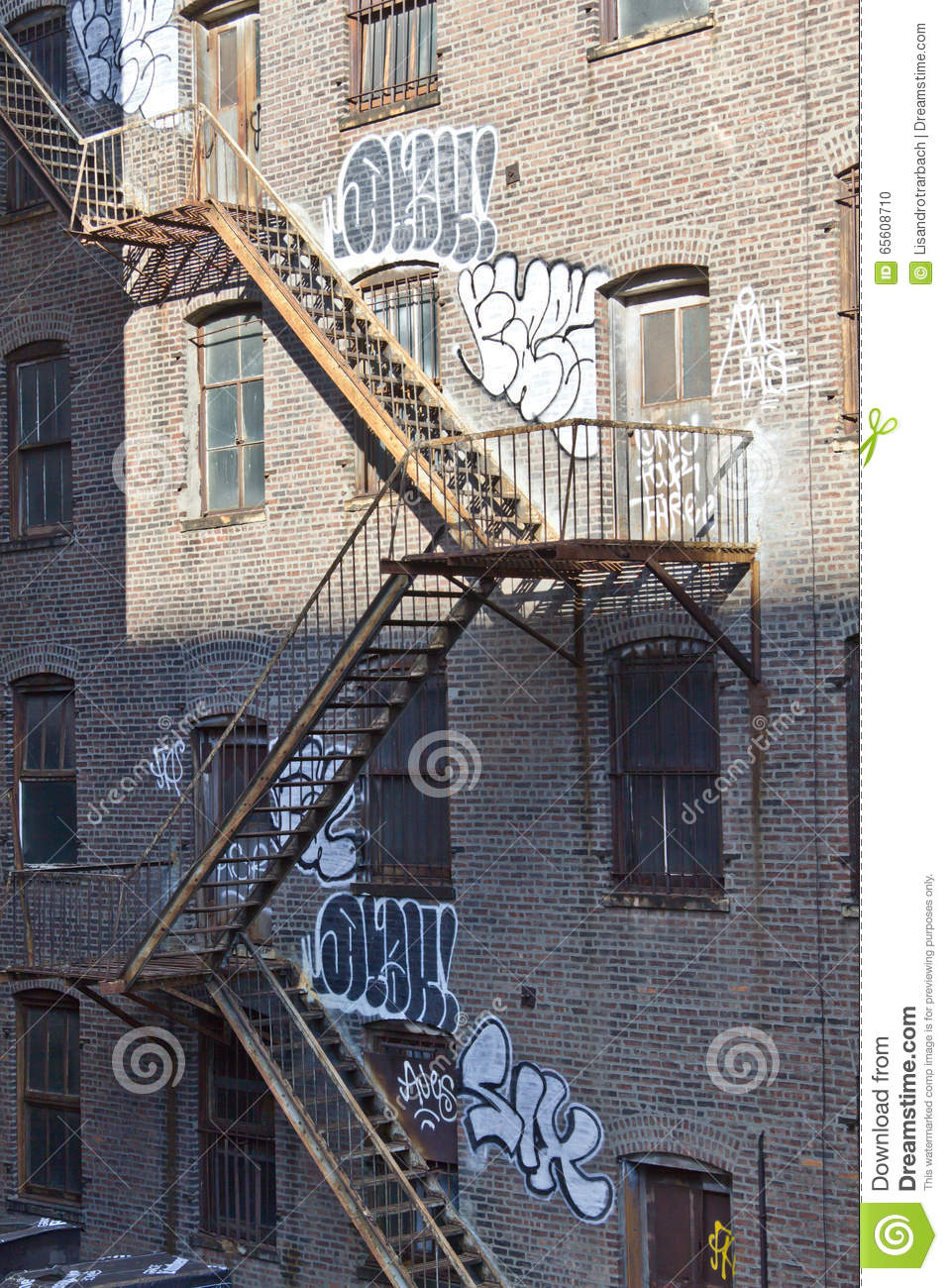 Details Of Outside Stairs At Manhattan Apartment Buildings