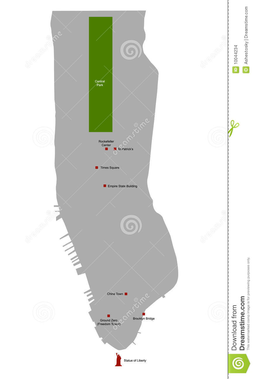 Map Of New York Rockefeller Center.Manhattan Area Map With Landmarks Stock Vector Illustration Of