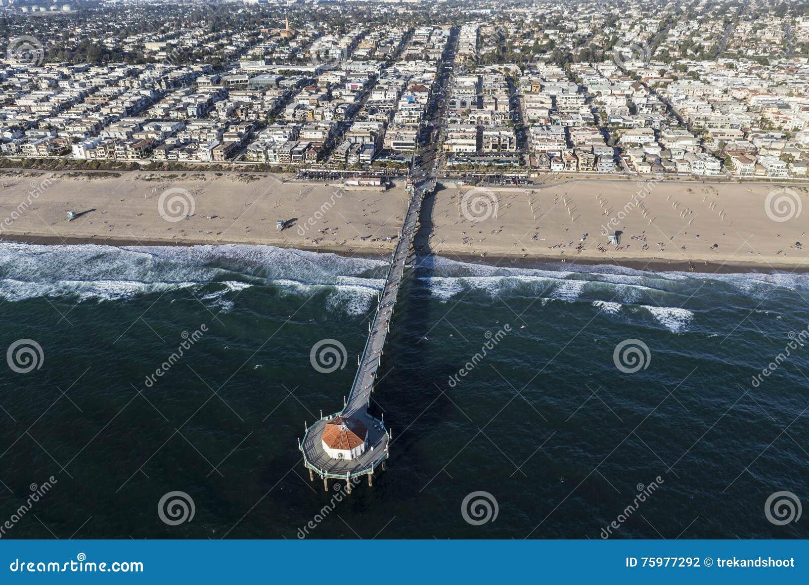Manhattan Beach Pier Aerial Stock Photo Image Of Ocean Manhattan
