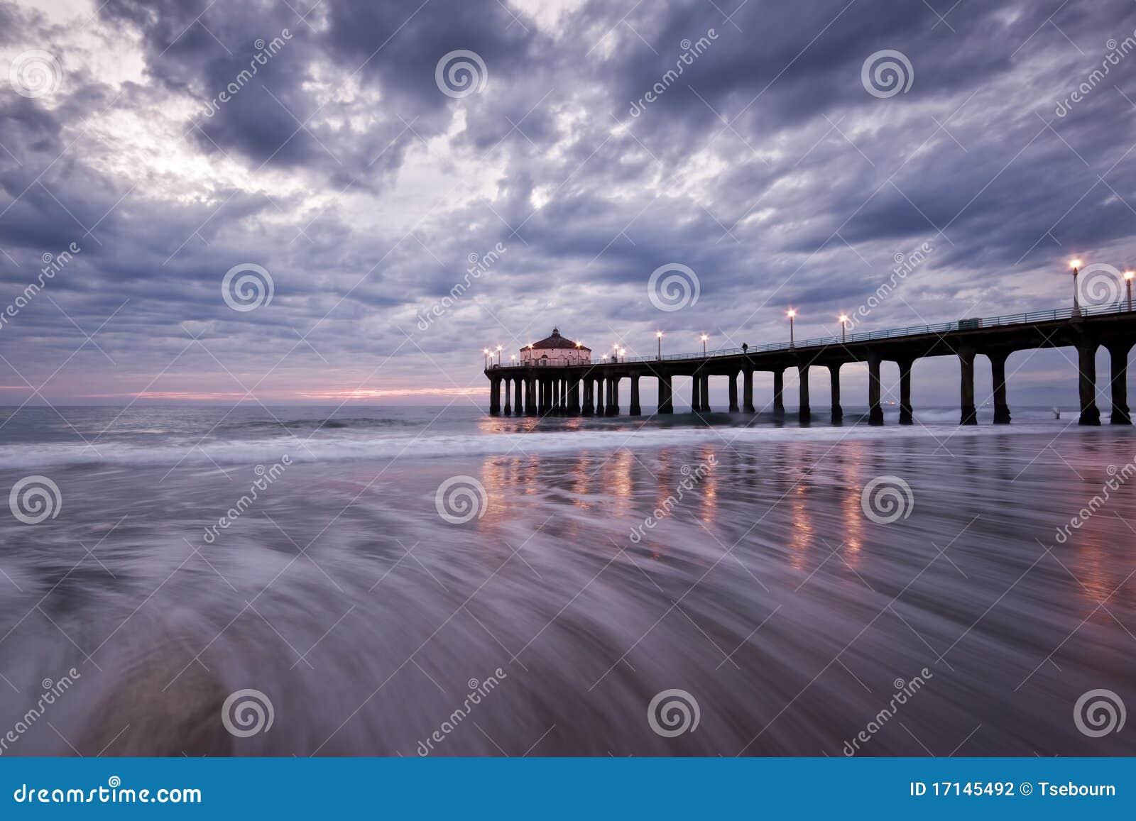 Manhattan Beach Pier Dreamy Sunset Stock Photo Image Of Stormy