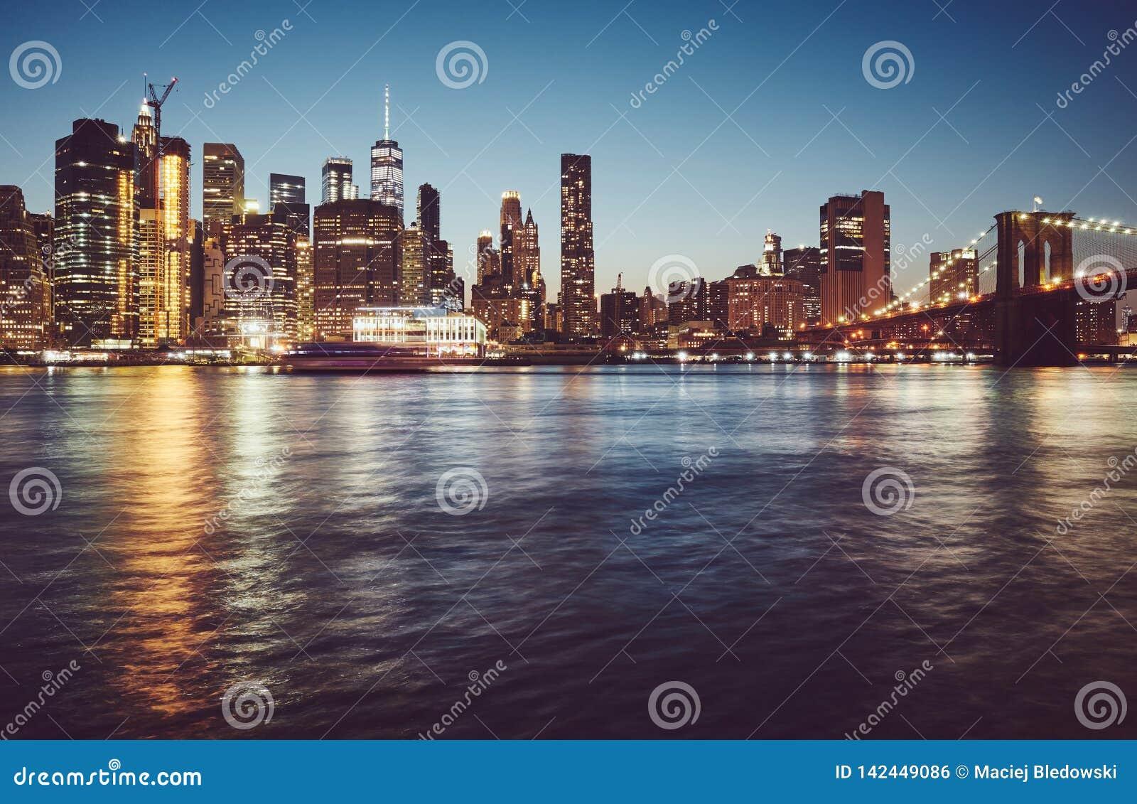 Manhattan bij blauw uur, New York