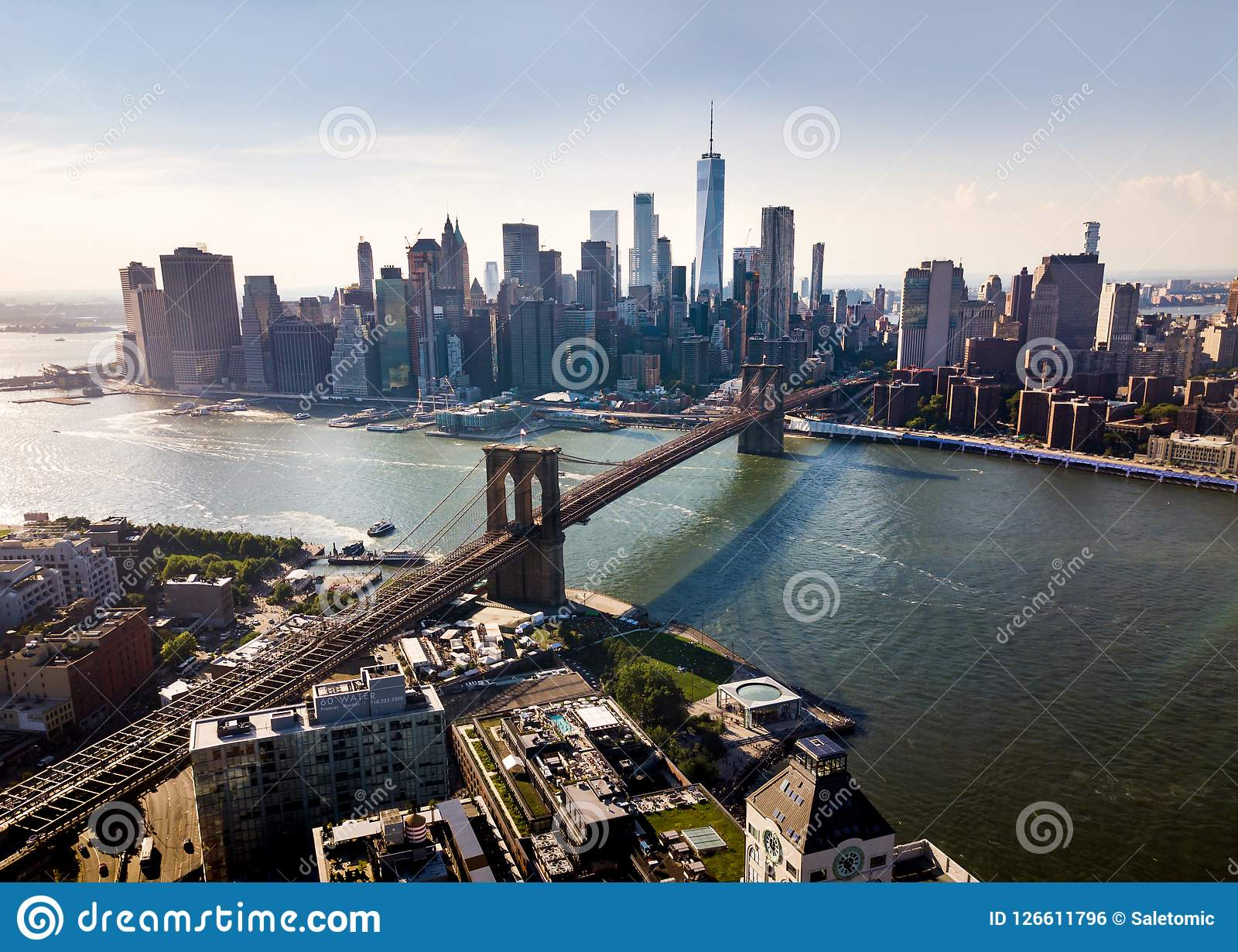 Manhattan Bridge New York City Aerial View Stock Photo Image Of