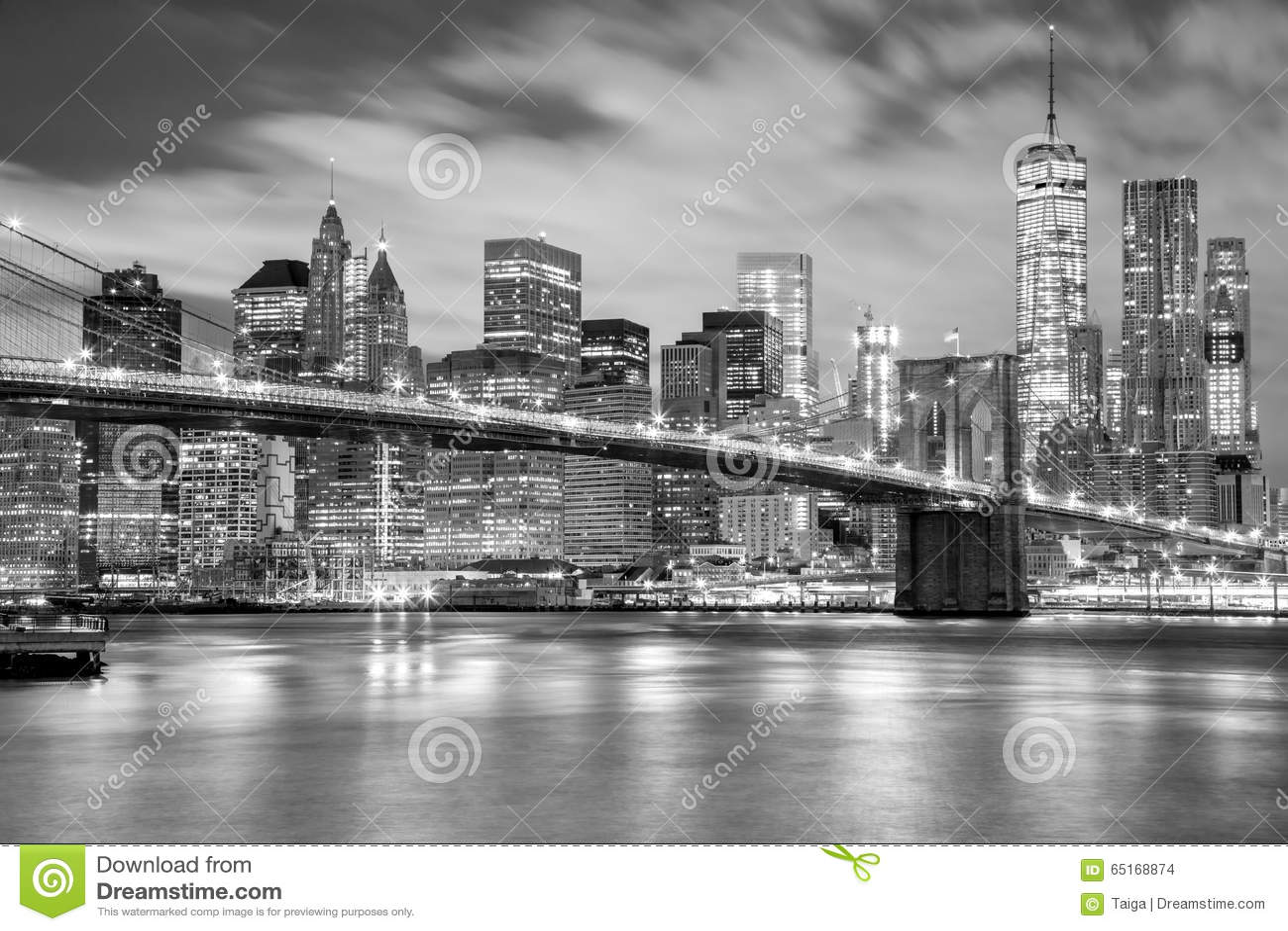 manhattan and brooklyn bridge black and white new york stock photo image 65168874. Black Bedroom Furniture Sets. Home Design Ideas
