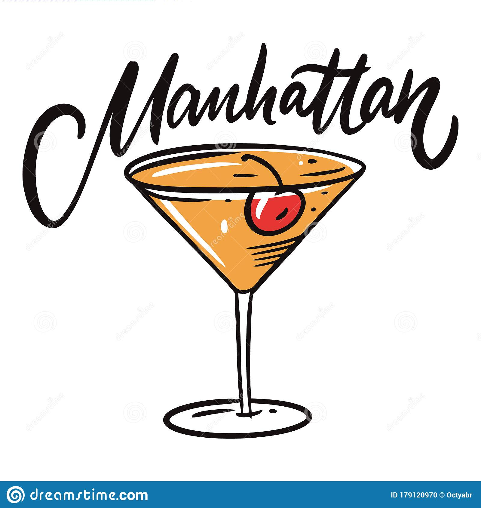 Manhattan Cocktail Flat Style Colorful Cartoon Illustration Stock Illustration Illustration Of Background Decoration 179120970