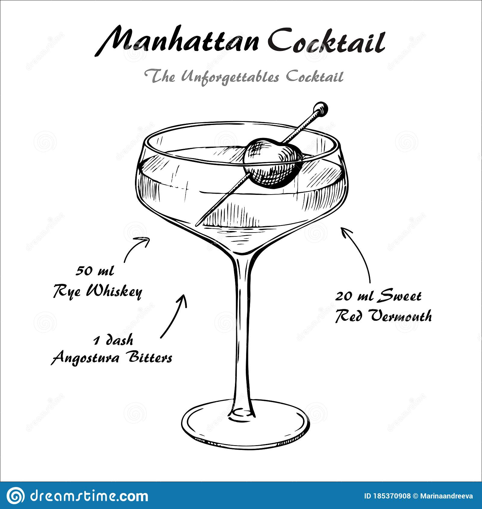 Manhattan Cocktail Recipe Vector Hahddrawn Illustration Sketch Stock Vector Illustration Of Bartender Drink 185370908