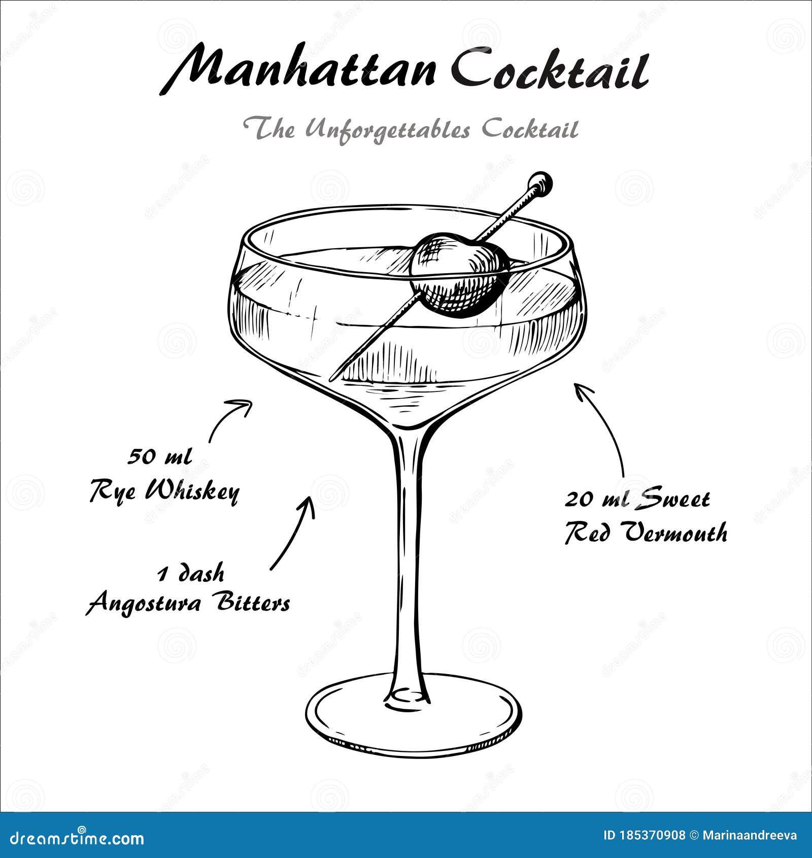 Manhattan Cocktail Recipe Vector Hahddrawn Illustration Sketch Stock Vector Illustration Of Bartender Drink 185370908