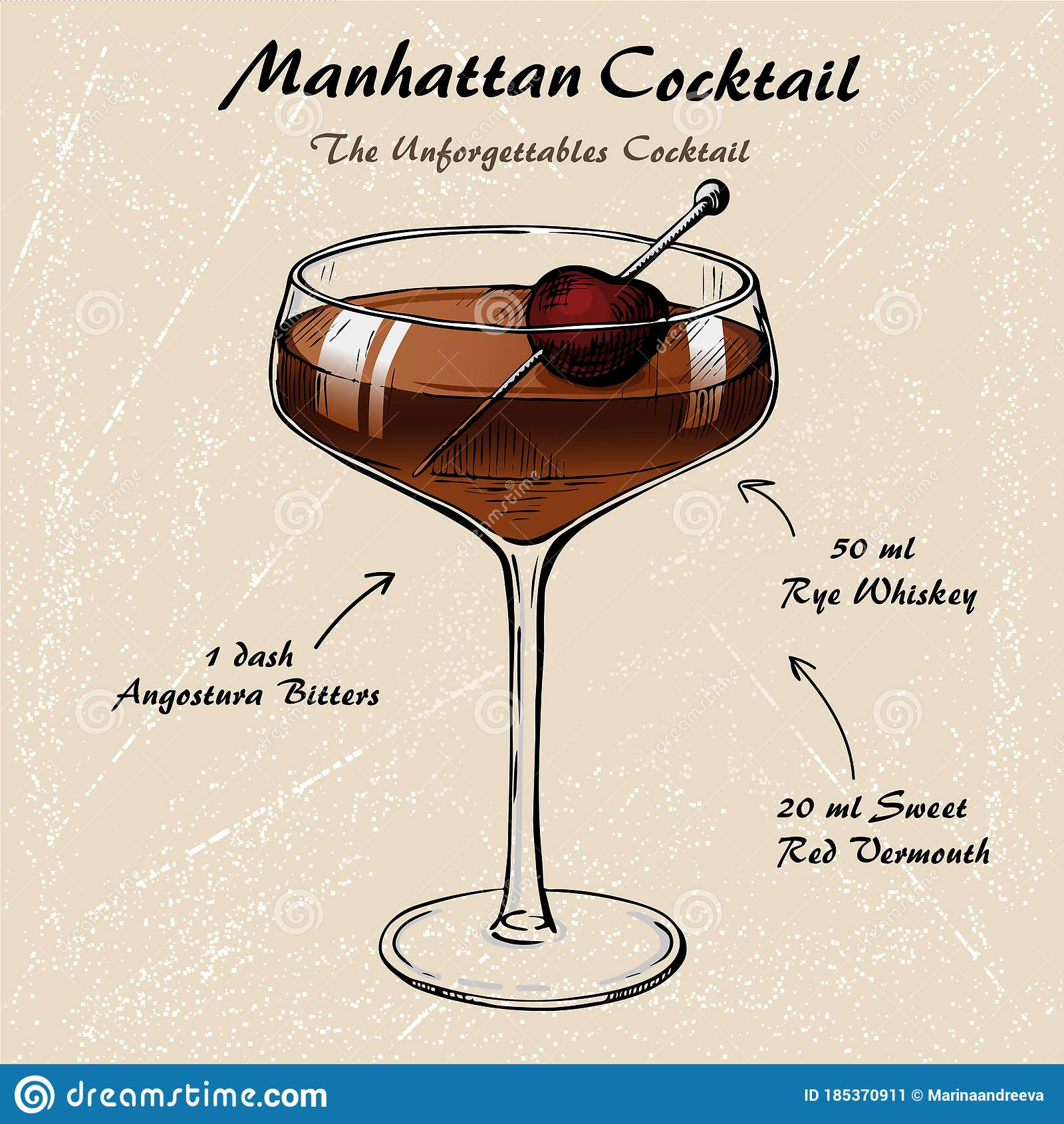 Manhattan Cocktail Recipe Vector Hahddrawn Illustration Sketch Stock Vector Illustration Of Manhattan Bartender 185370911