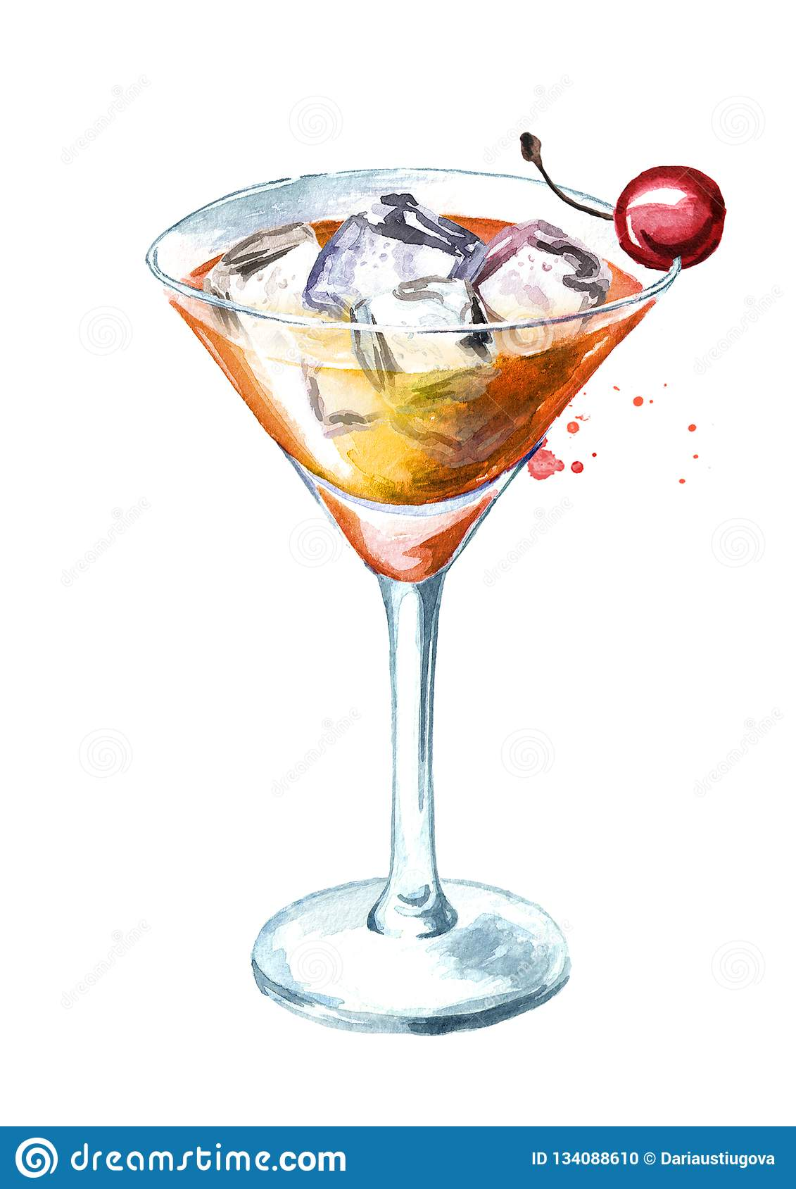 Manhattan Cocktail Watercolor Hand Drawn Illustration Isolated On White Background Stock Illustration Illustration Of Background Garnish 134088610