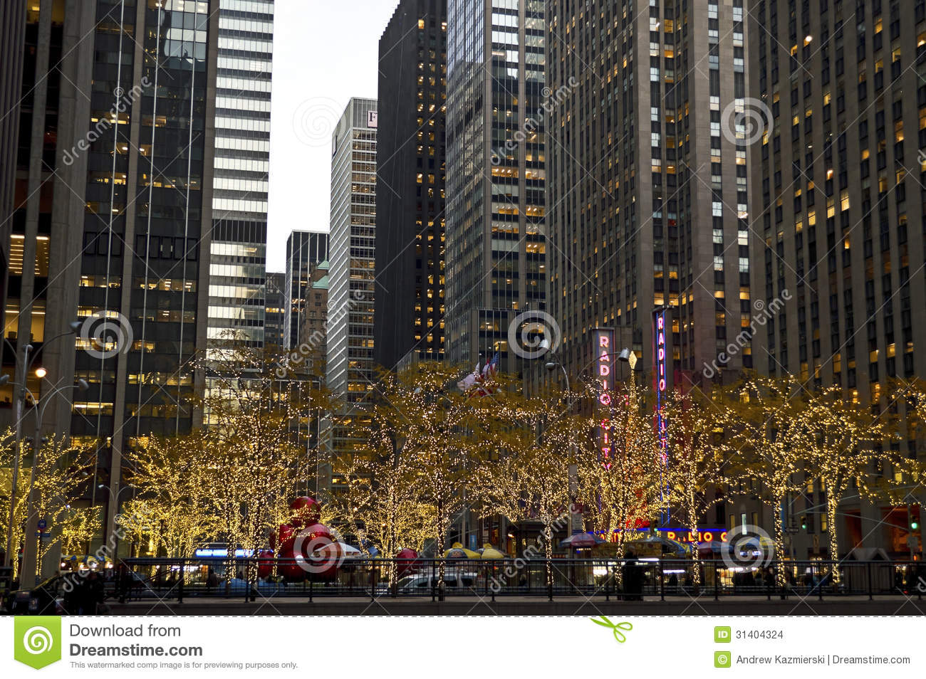 Manhattan holiday lights editorial stock image image of for Home holidays new york manhattan