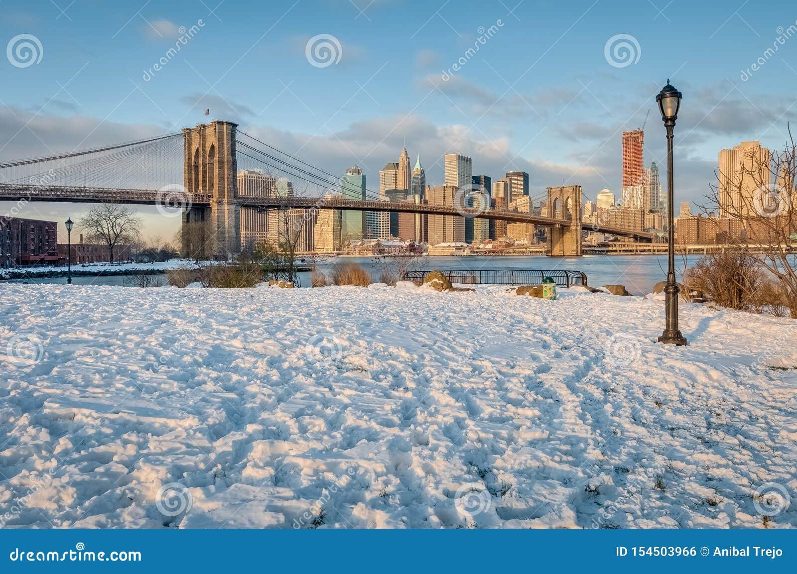 Manhattan linia horyzontu od otoczak plaży w Brooklyn, Stany Zjednoczone