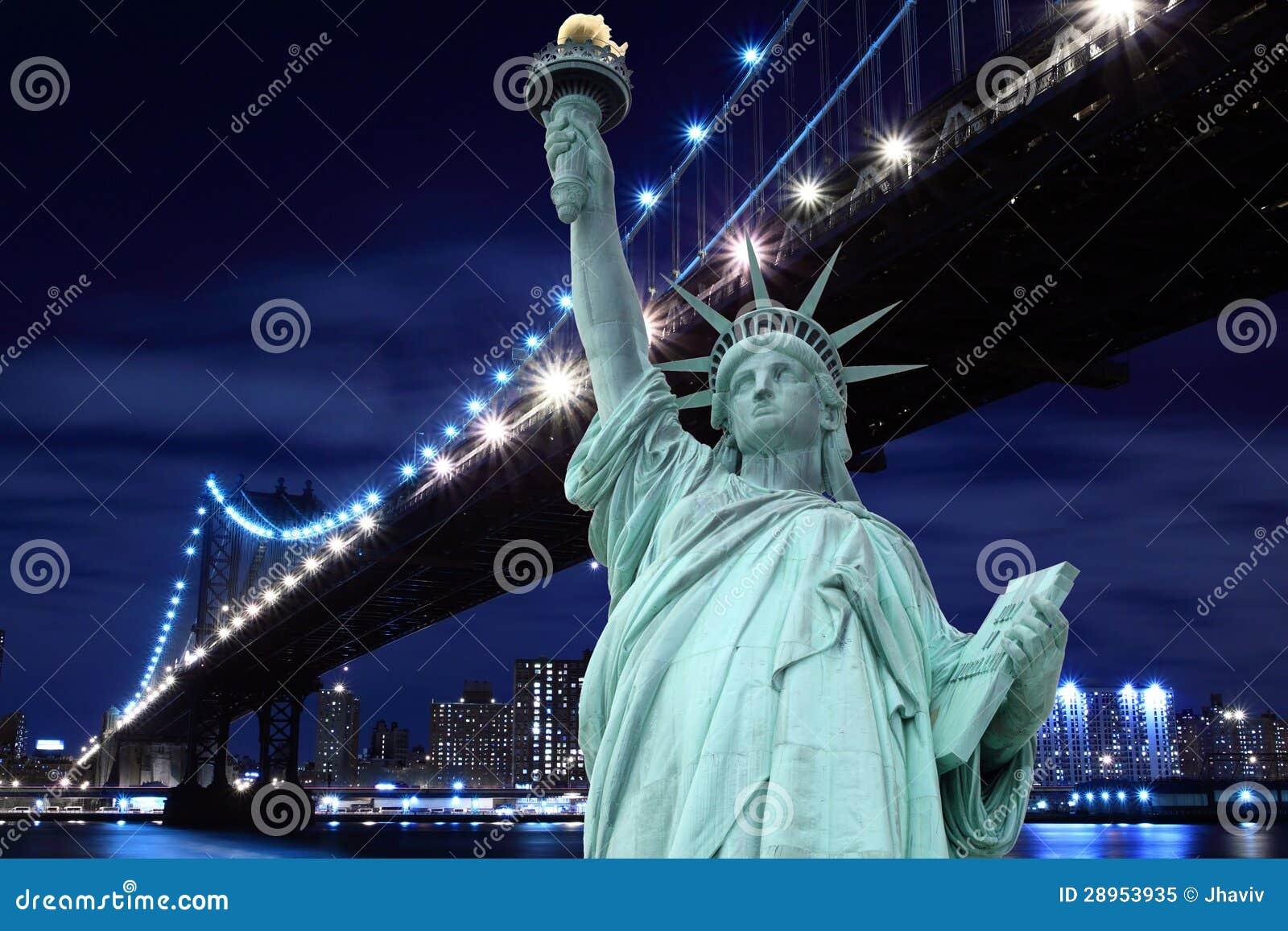 Manhattan most i statua wolności