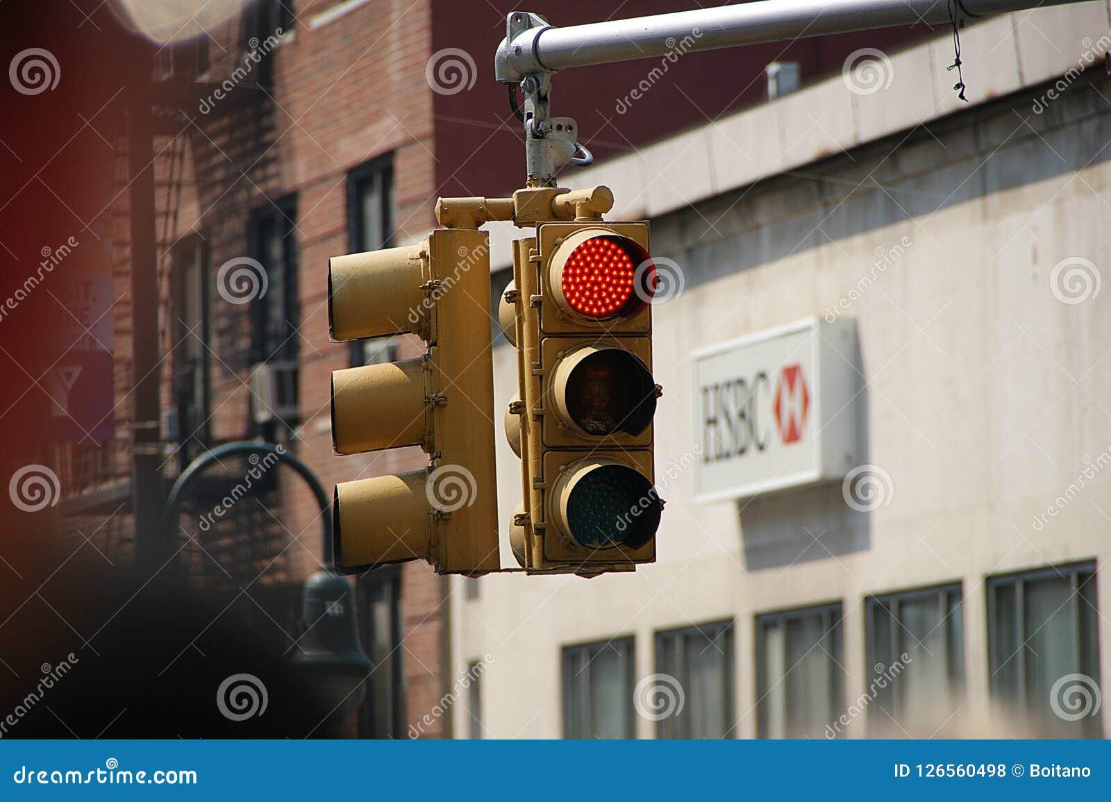 Manhattan, New York City, New York - June 10 2009  Red Color Traffic