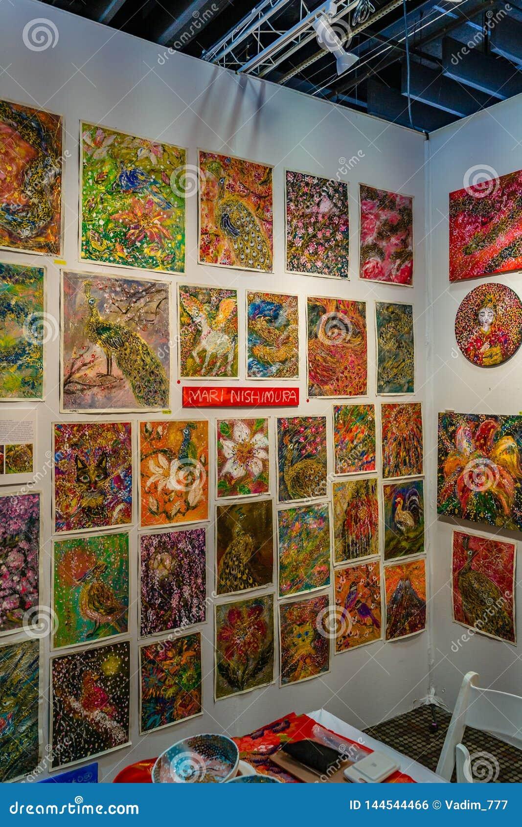 Manhattan, New York City, NY, Estados Unidos - demostración de arte 7 de abril de 2019 de Artexpo Nueva York, moderno y contempor