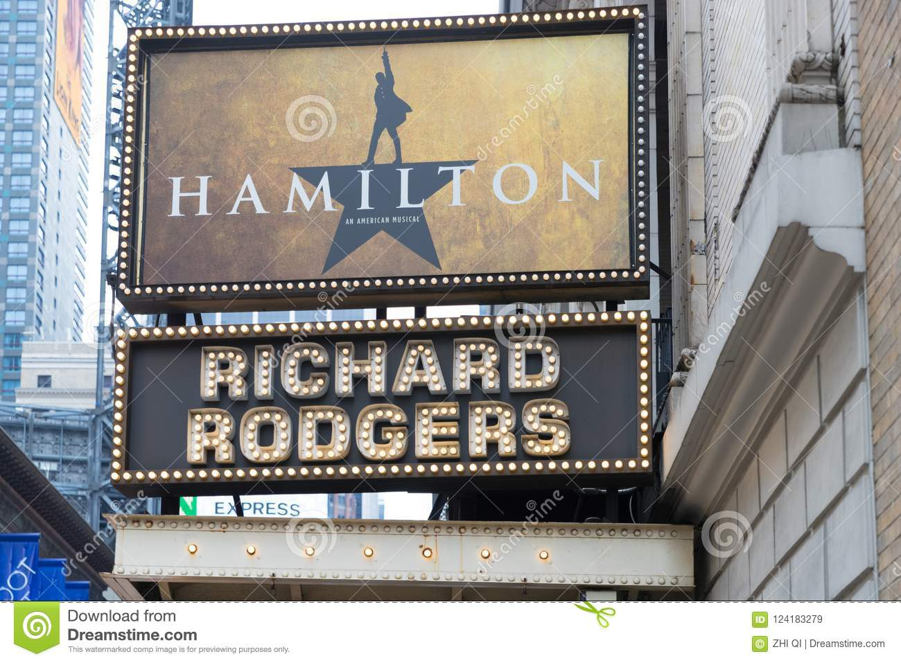 The marquee of Hamilton, An American Musical