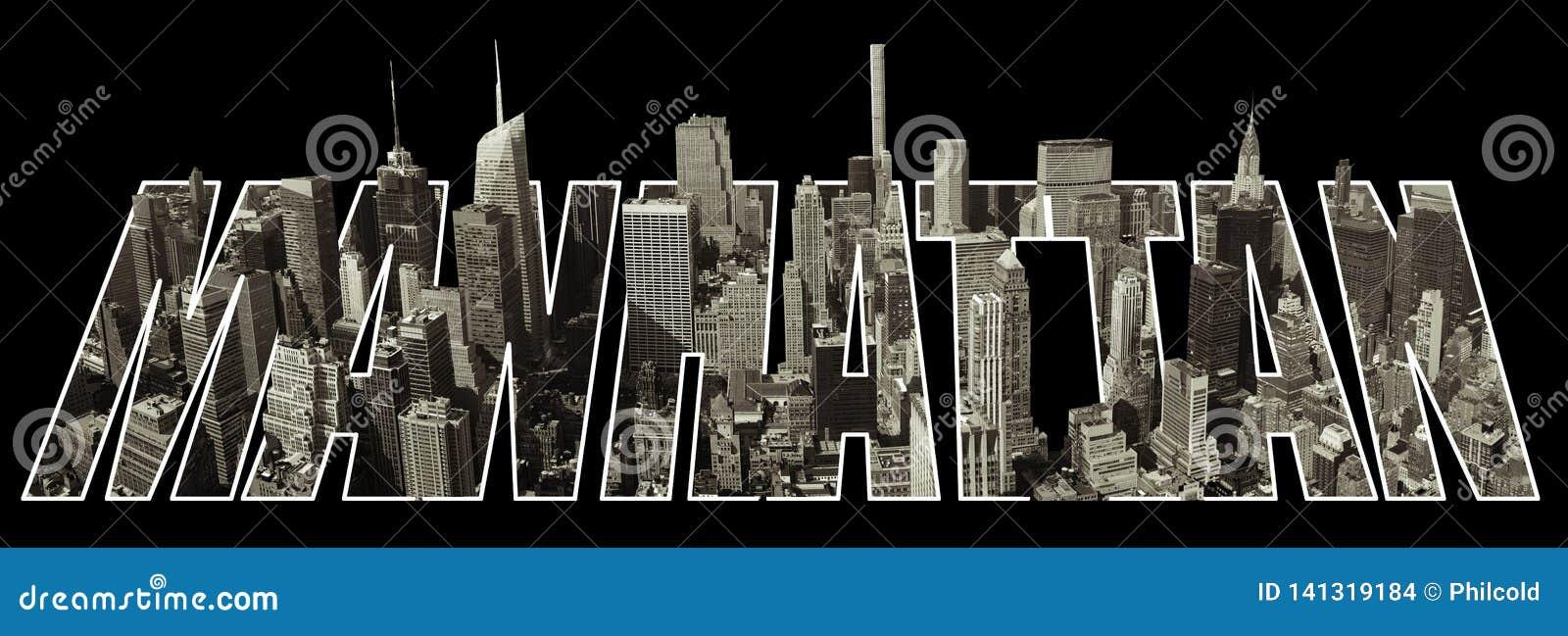 Manhattan sikt på bokstäver