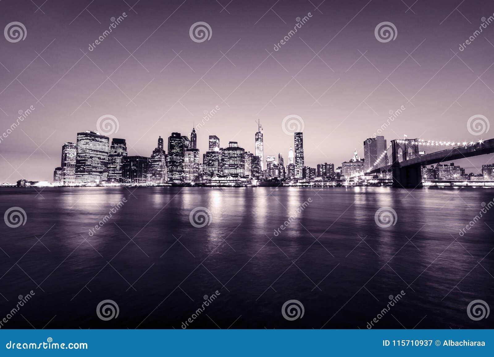Manhattan skyline. New York city. USA. Panoramic view. Pink tones.