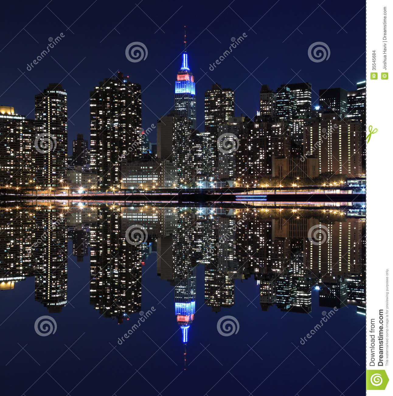 Manhattan Skyline At Night Lights, New York City Stock