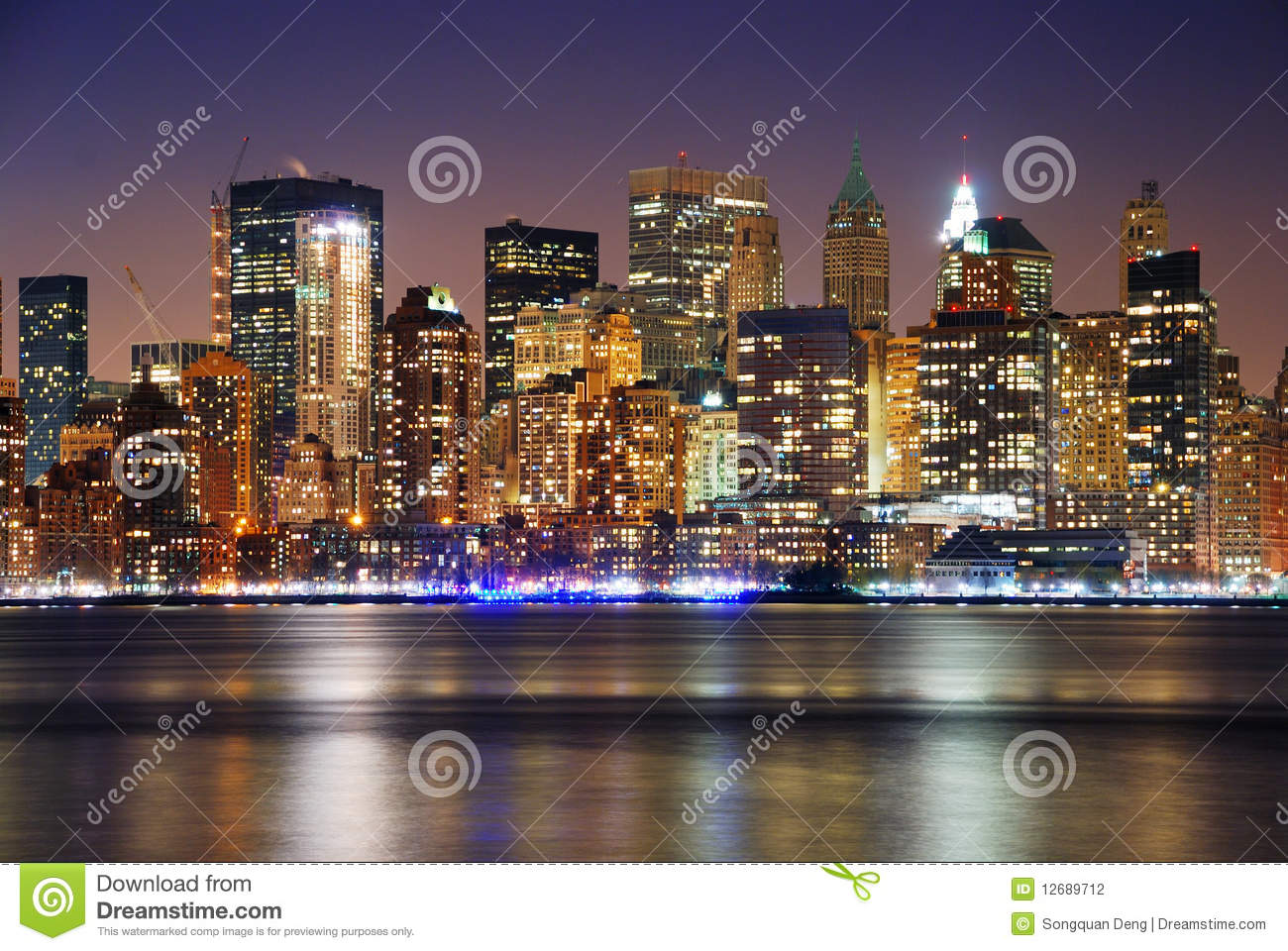 Manhattan Skyline At Night New York City Stock