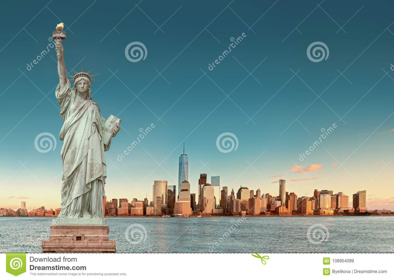 Manhattan Skyline with the Statue of Liberty , New York City. USA